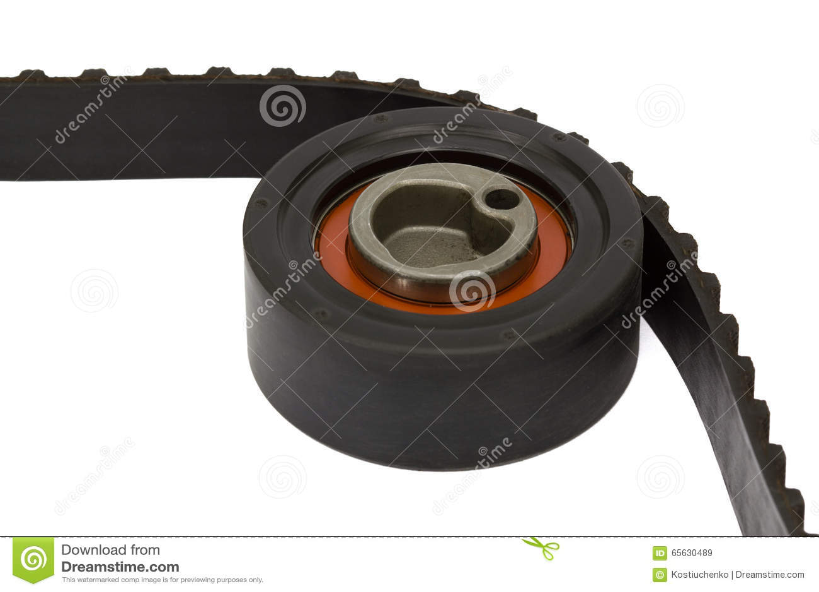 Plan rapproché de rouleau de ceinture et de tendeur, d isolement sur le fond blanc