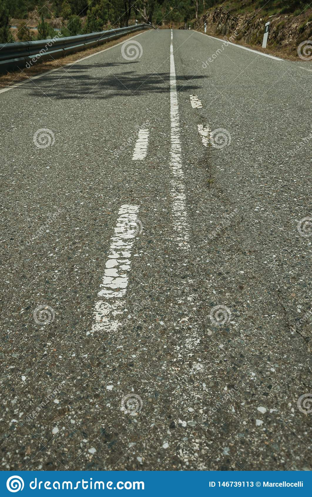 Plan rapproché de route pavée
