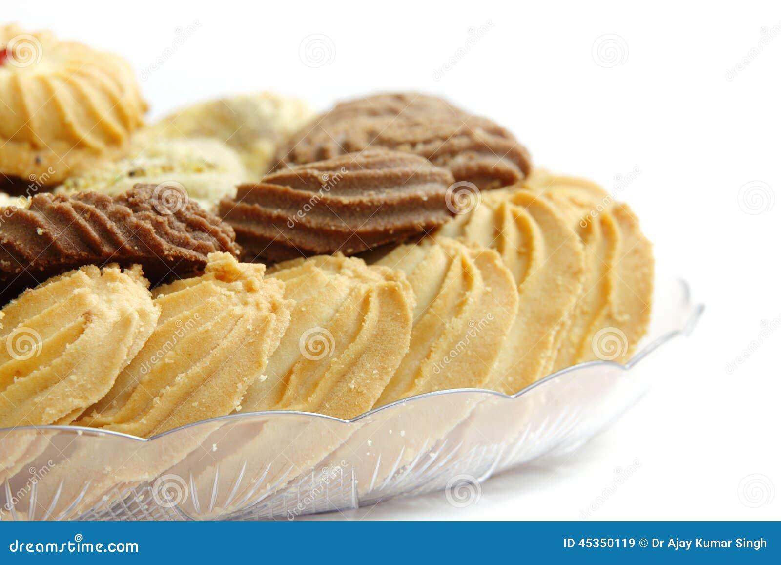 Plan rapproché des biscuits délicieux de beurre
