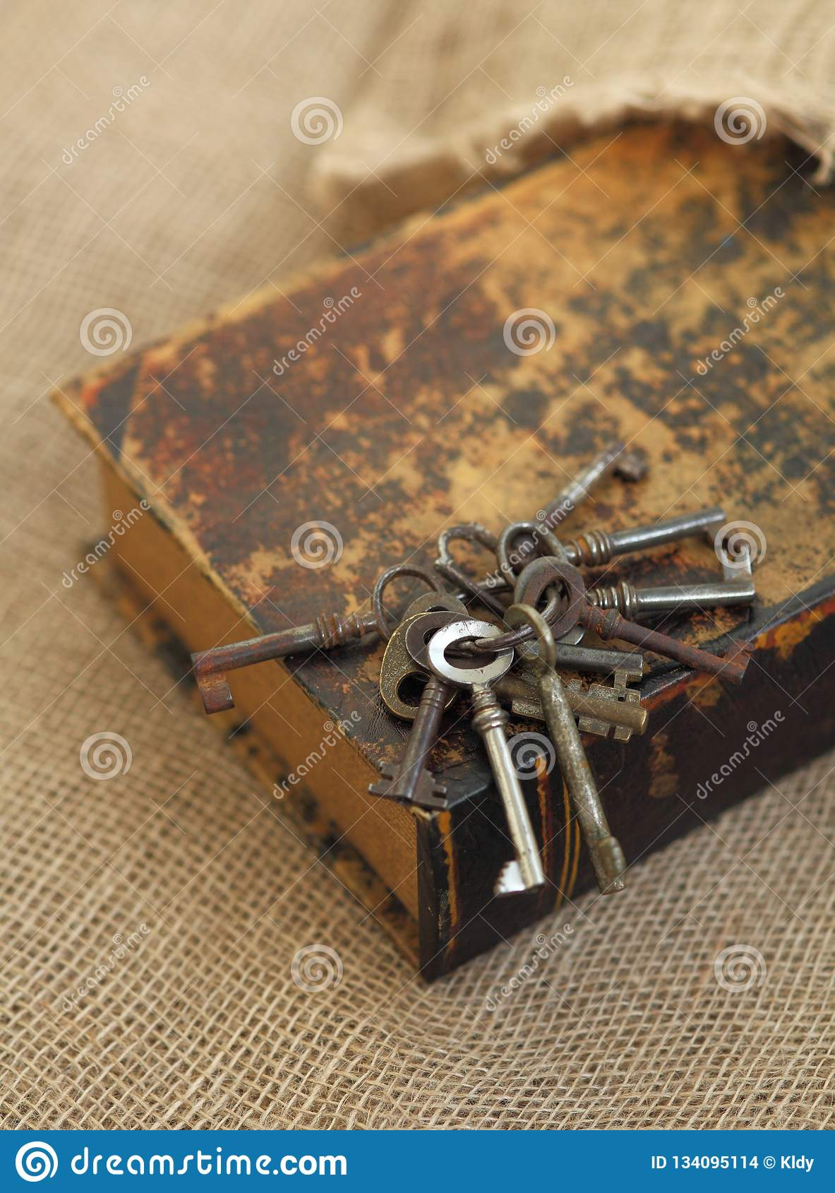 Plan rapproché des clés antiques sur le vieux folio Concept secret d études Concept historique d études