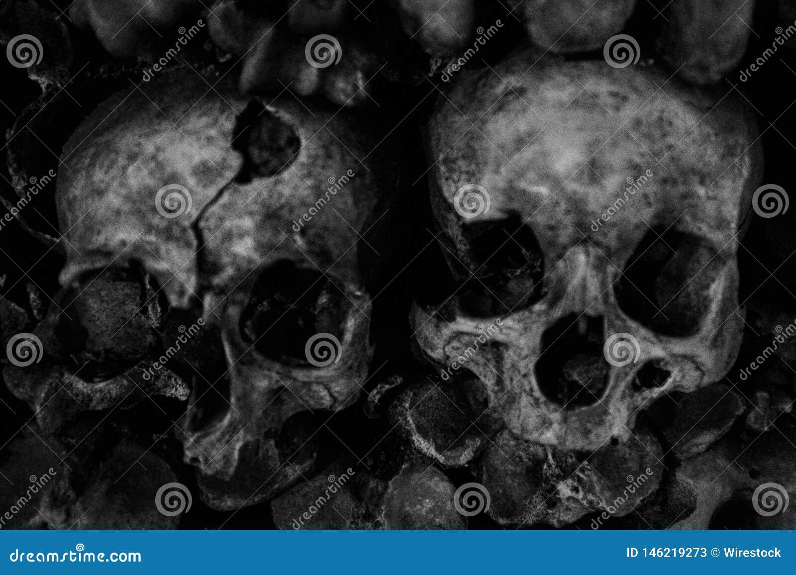 Plan rapproché des crânes humains empilés sur l un l autre