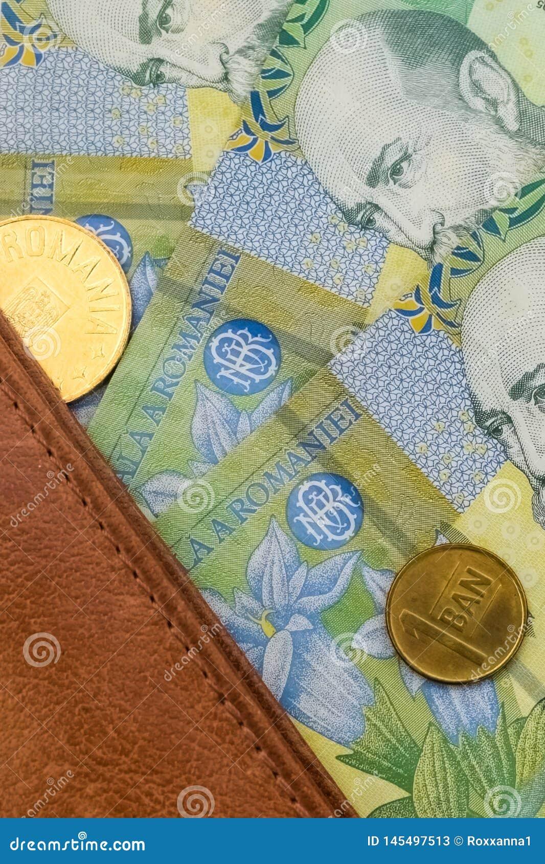 Plan rapproché des factures roumaines d un leu