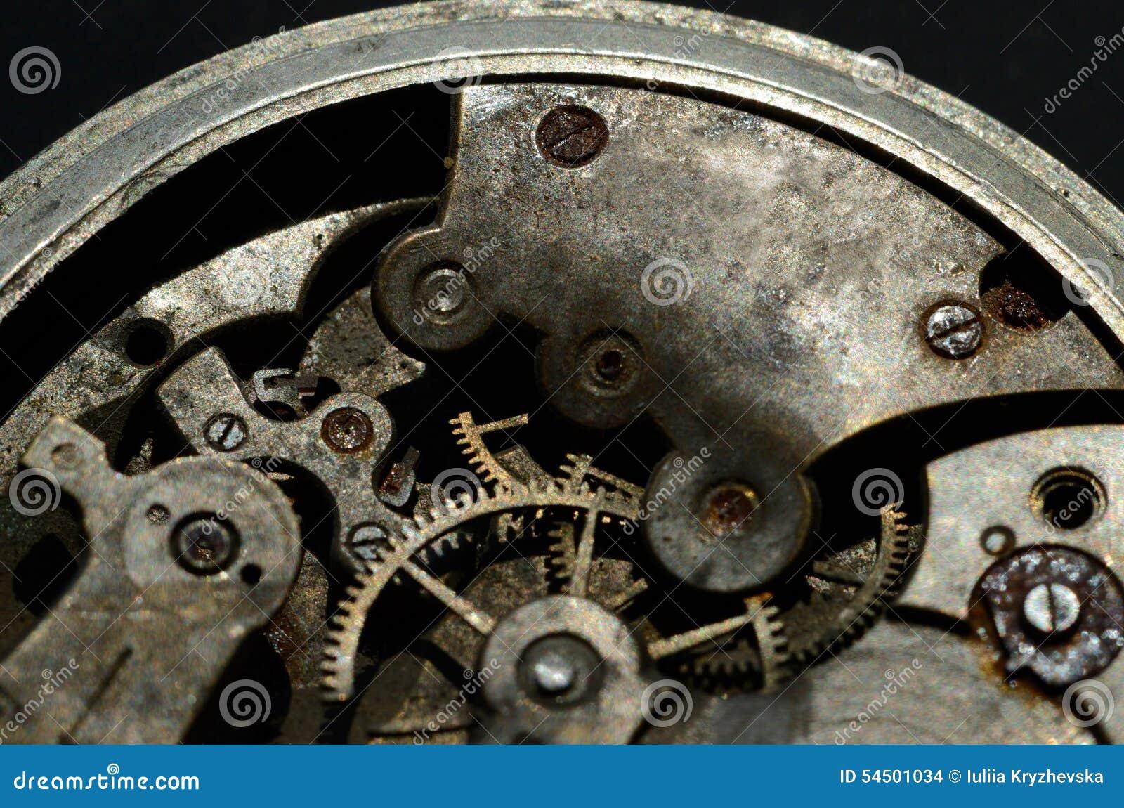 Plan rapproché du vieux mécanisme d horloge, fond pour la conception de vintage