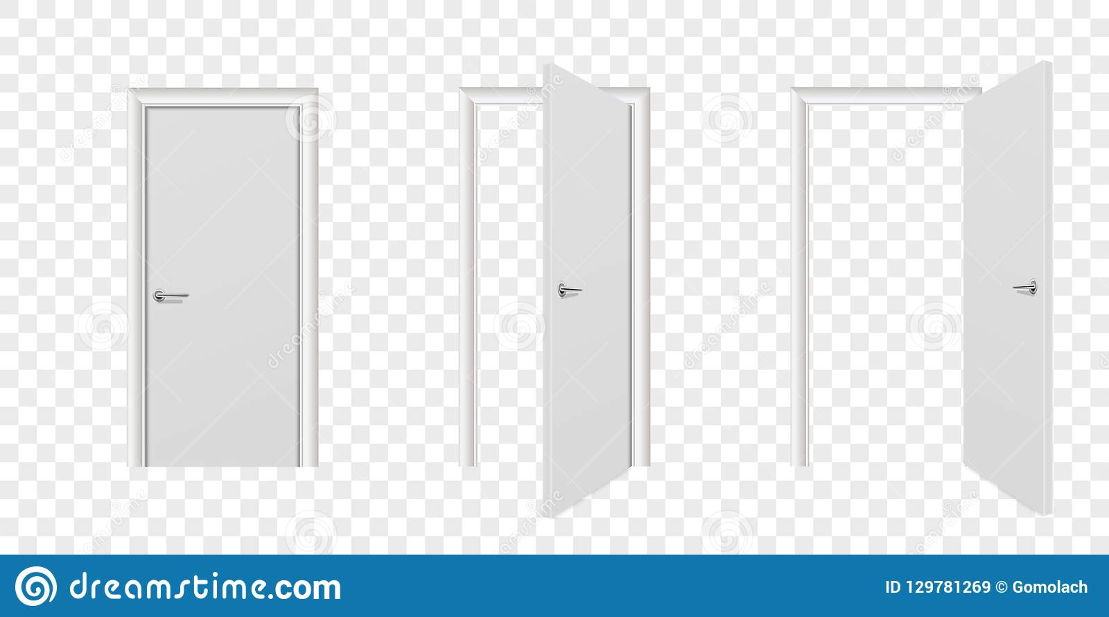 Plan rapproché en bois blanc ouvert de vecteur et fermé différent réaliste d ensemble d icône de porte d isolement sur le fond tr