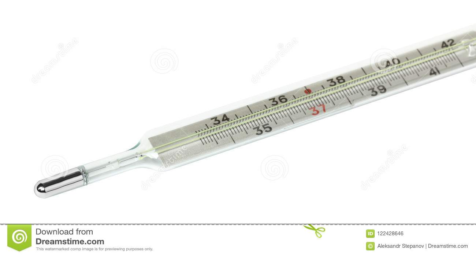 Plan rapproché médical de thermomètre de vieux mercure d isolement sur le fond blanc L échelle en degrés Celsius