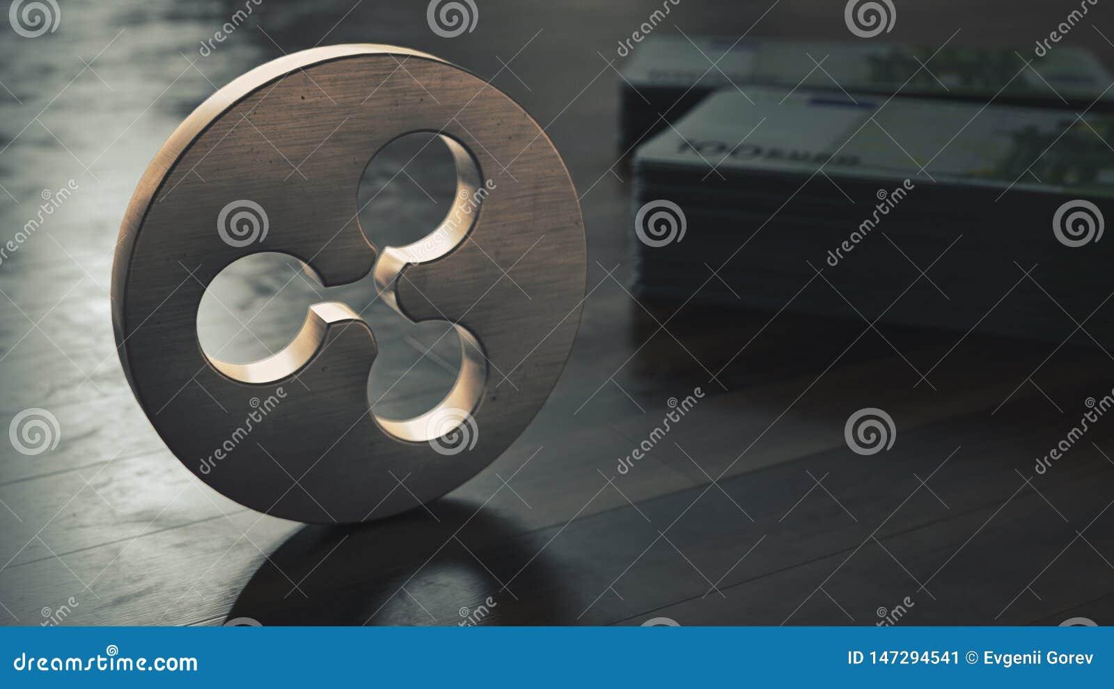 Plan rapproché métallique de symbole de cryptocurrency d ondulation illustration 3D