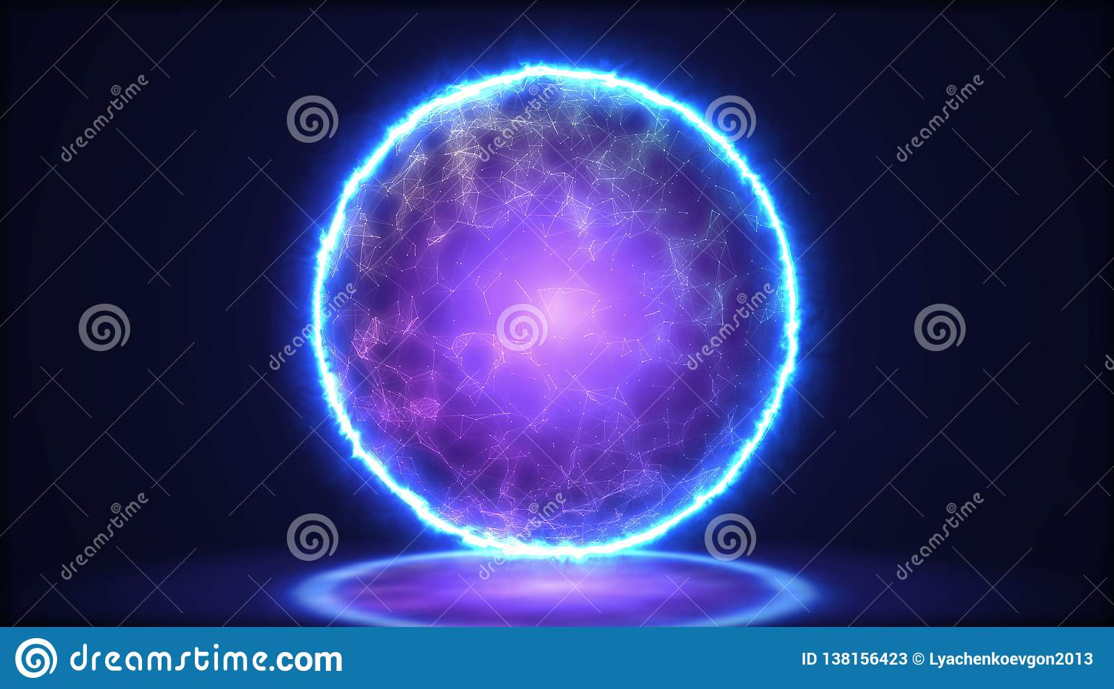 Plan rapproché magique de lampe Énergie à l intérieur de la sphère illustration 3D
