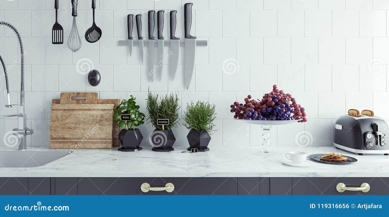 Plan rapproché moderne d intérieur de cuisine