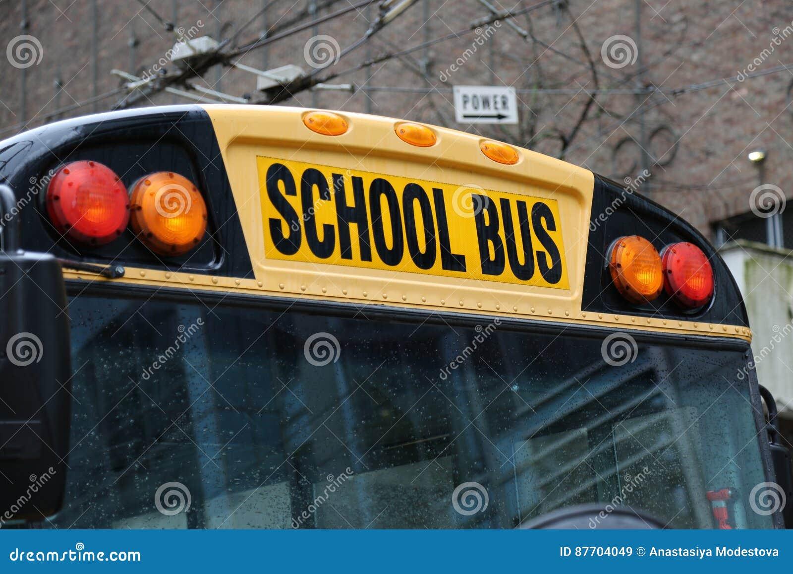 Plan rapproché nord-américain d autobus scolaire