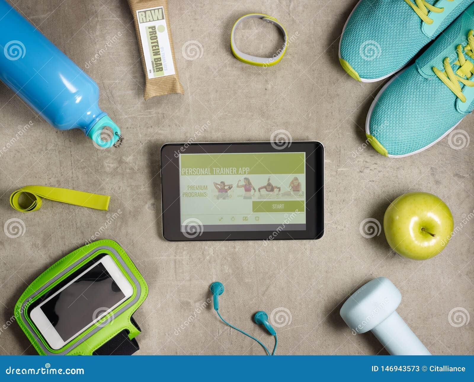 Plan rapproch? sur le smartphone et la tablette avec l appli personnel d entra?neur