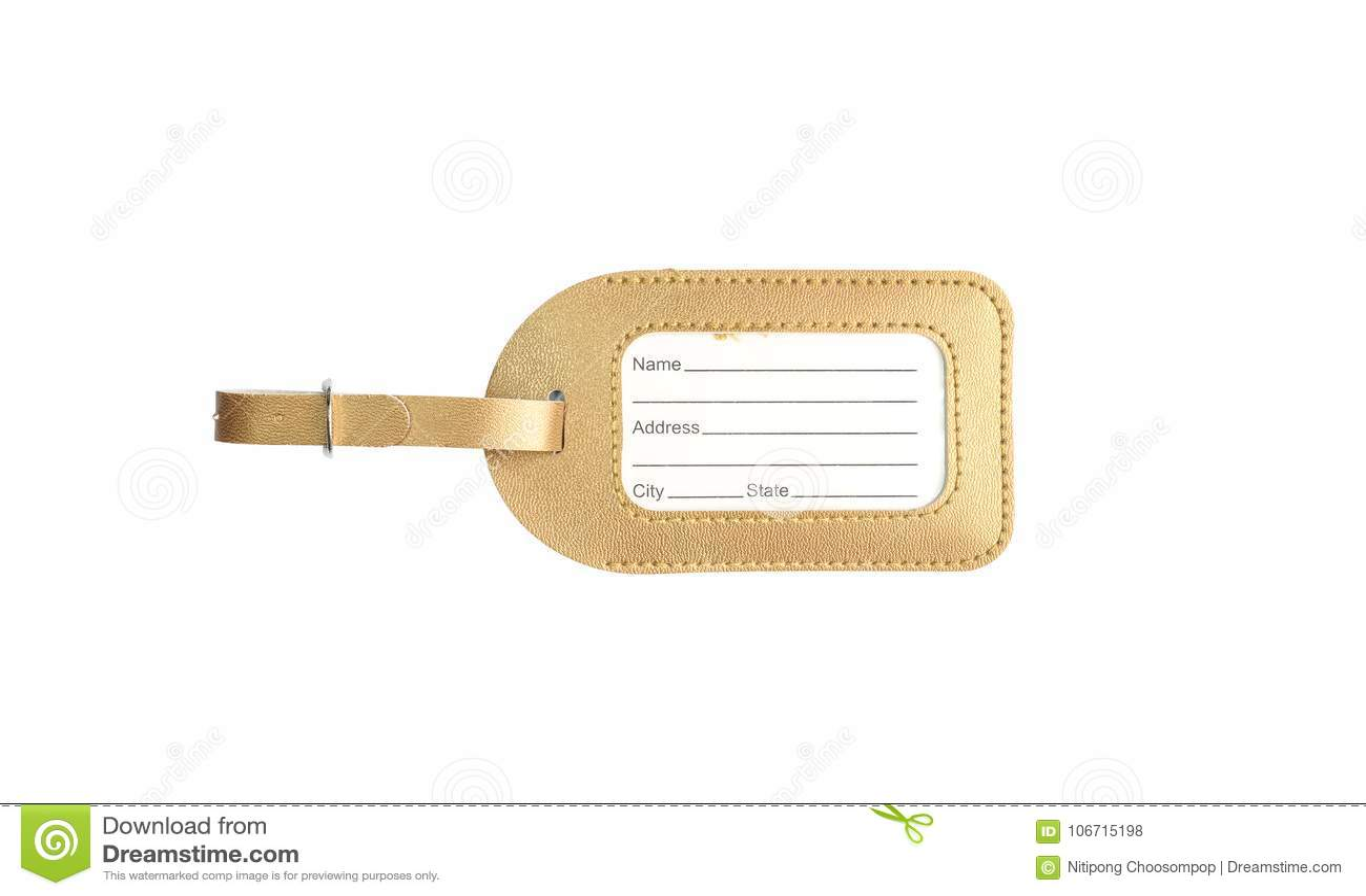 Plan rapproché une étiquette pour le nom et adresse de suffisance pour le coup à la valise pour faire d autres personnes connaîtr