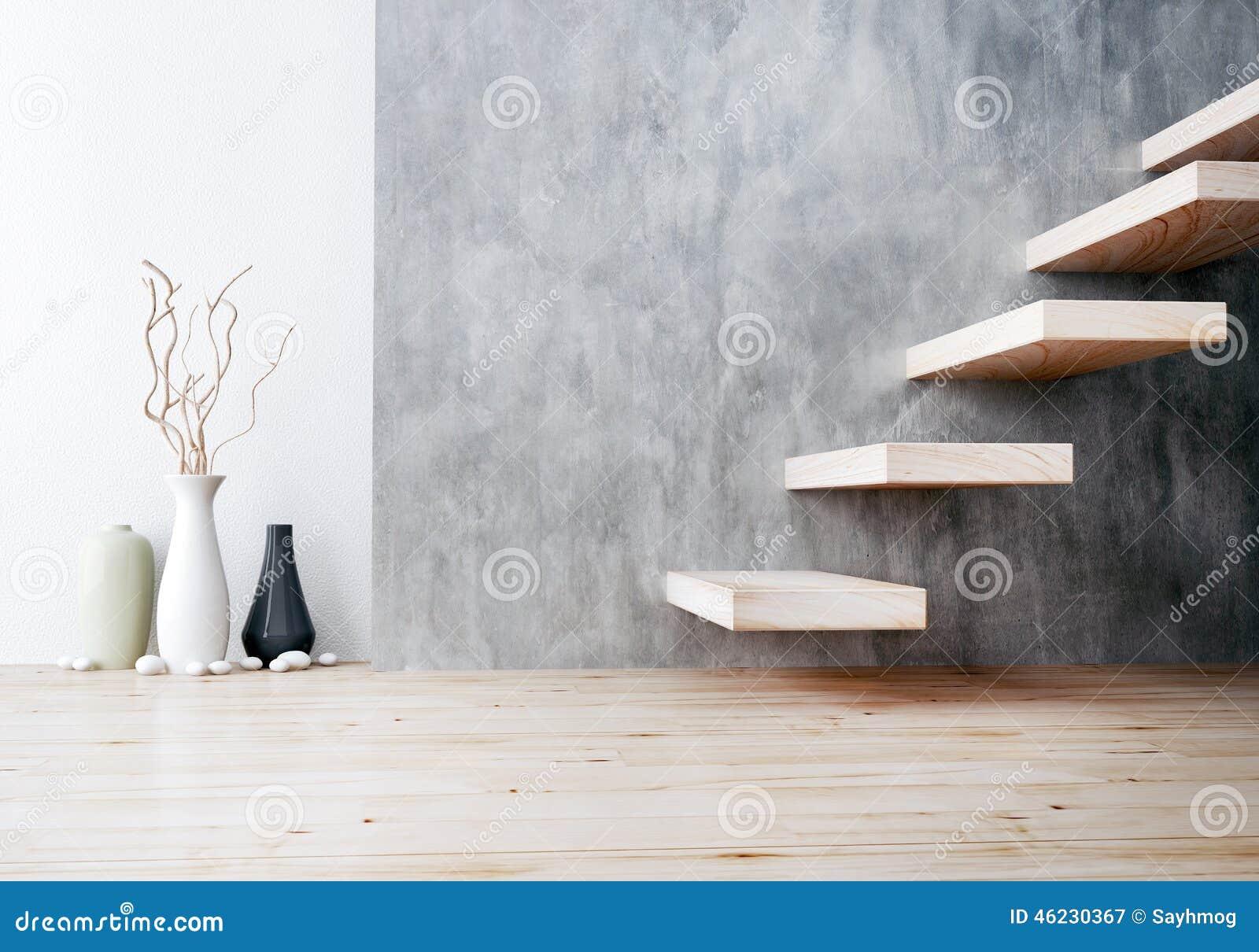 plan rapproch de l 39 escalier en bois et du vase en. Black Bedroom Furniture Sets. Home Design Ideas