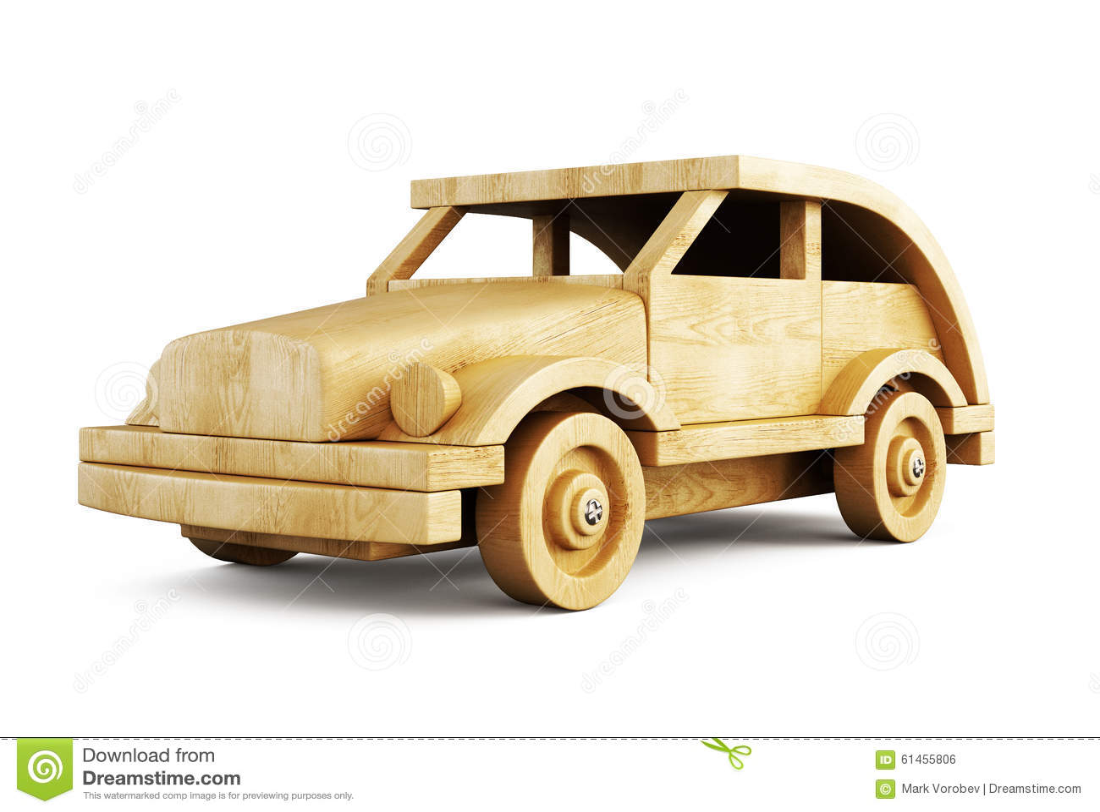plan rapproch en bois de voiture sur le fond blanc 3d illustration stock image 61455806. Black Bedroom Furniture Sets. Home Design Ideas