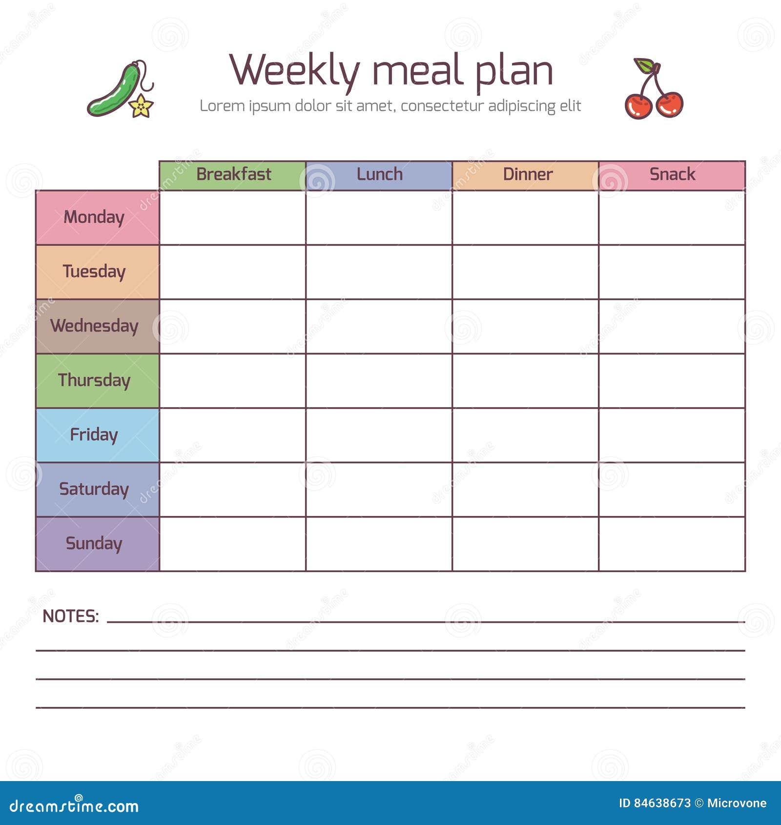 Plan semanal de la comida diario del vector de la hora de for Plan semanal de comidas