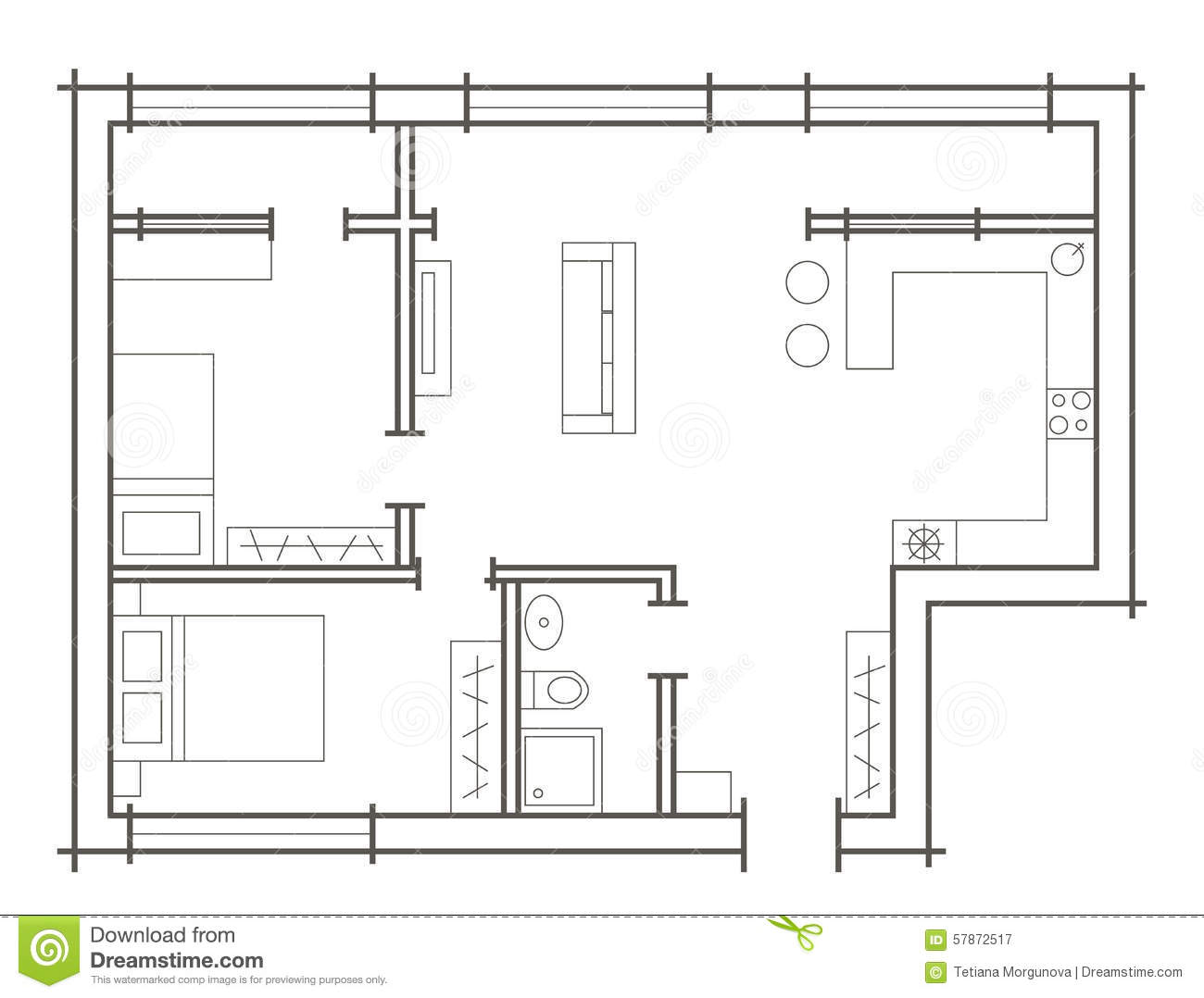 Plan sketch of two bedroom apartment stock vector - Architectural plan of two bedroom flat with dining room ...