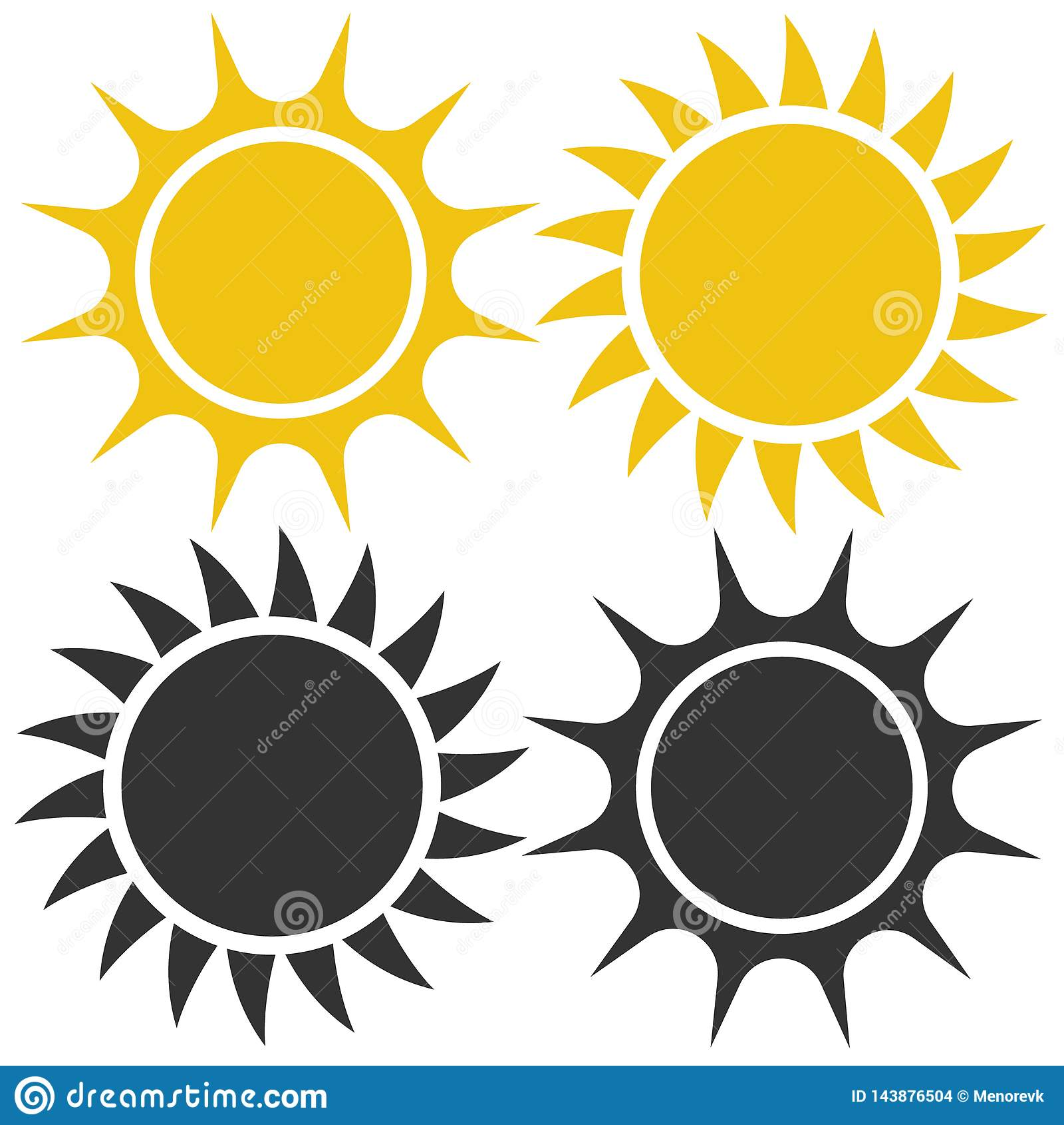 Plan solsymbol Solpictogram mallvektorillustration