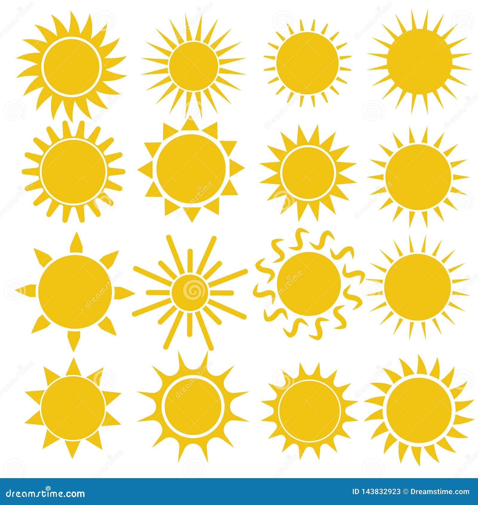 Plan solsymbol Solpictogram Moderiktigt vektorsommarsymbol