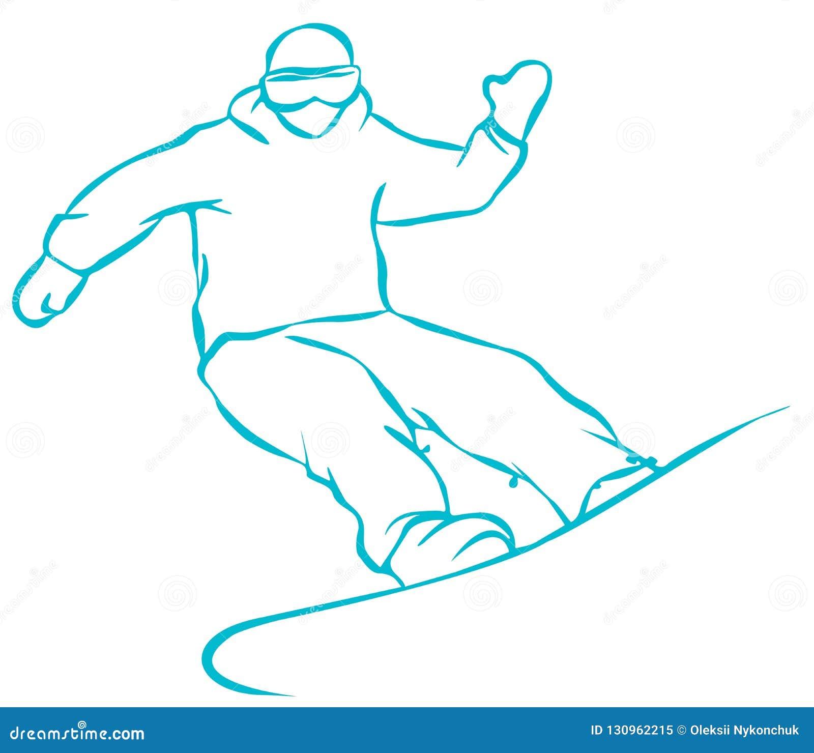 Plan symbol för grön Snowboarder på vit bakgrund