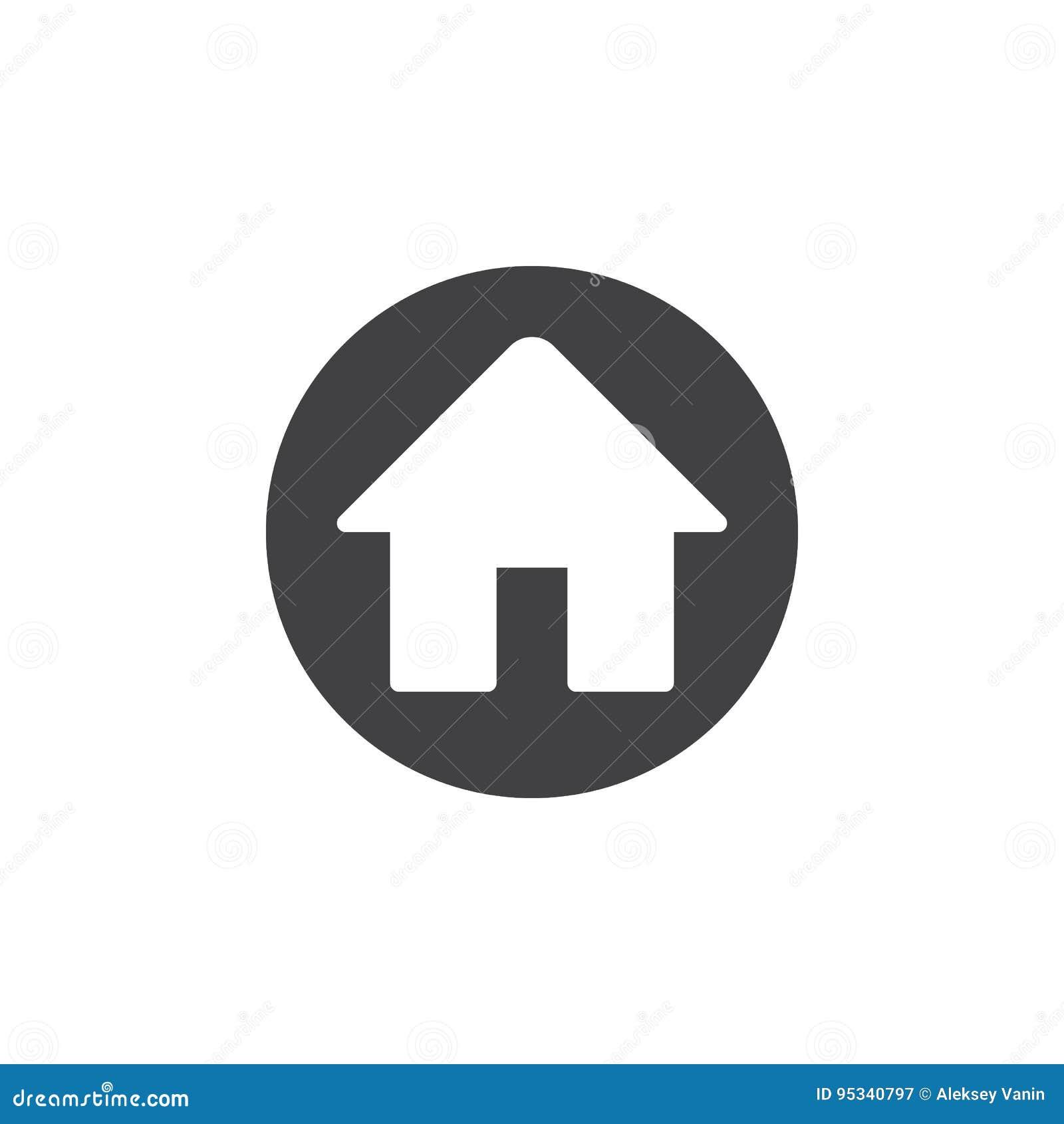 Plan symbol för hem Rund enkel knapp, runt vektortecken