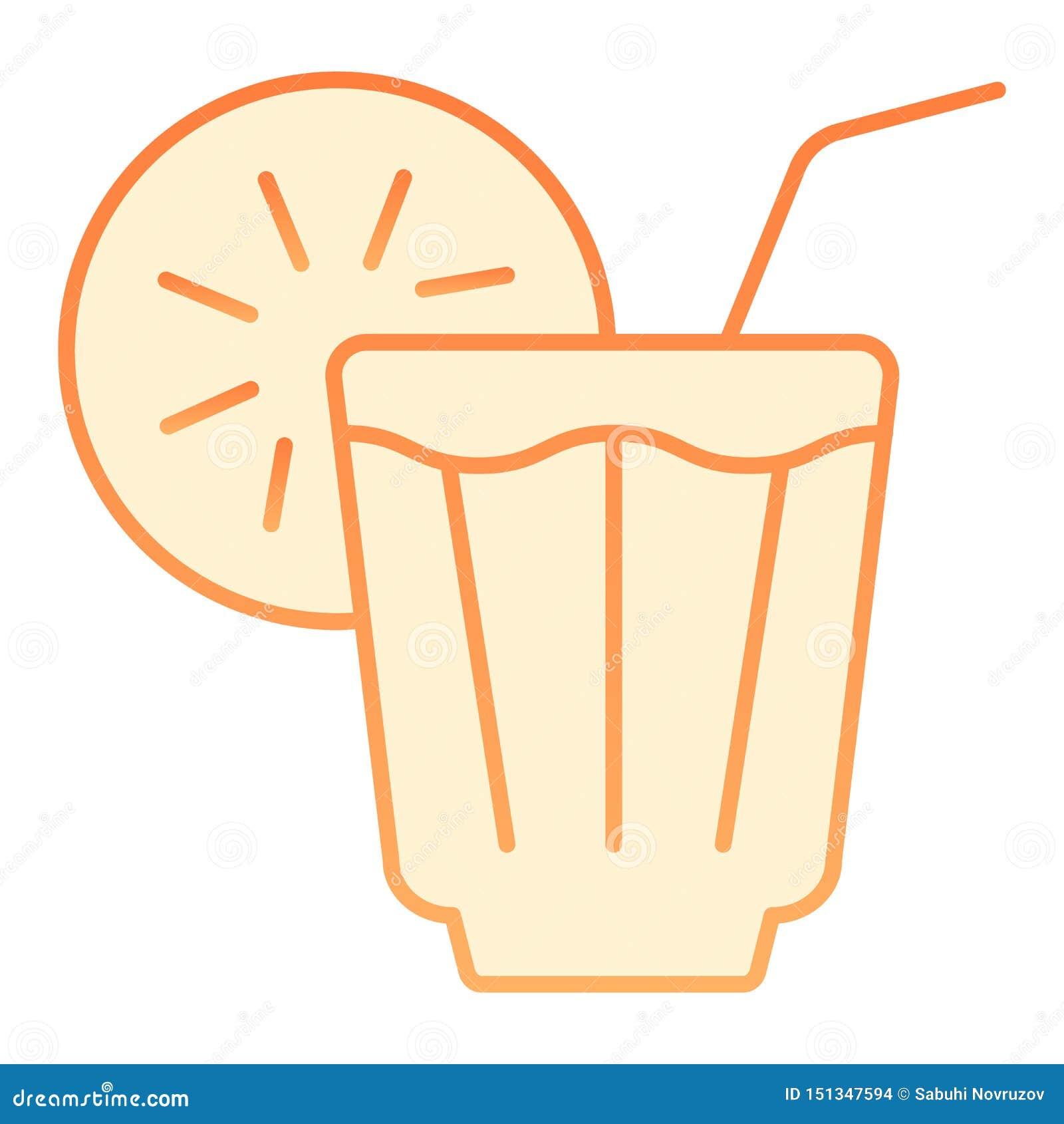 Plan symbol för med is drink Orange symboler för lemonad i moderiktig plan stil Kall design för telutningstil som planläggs för r