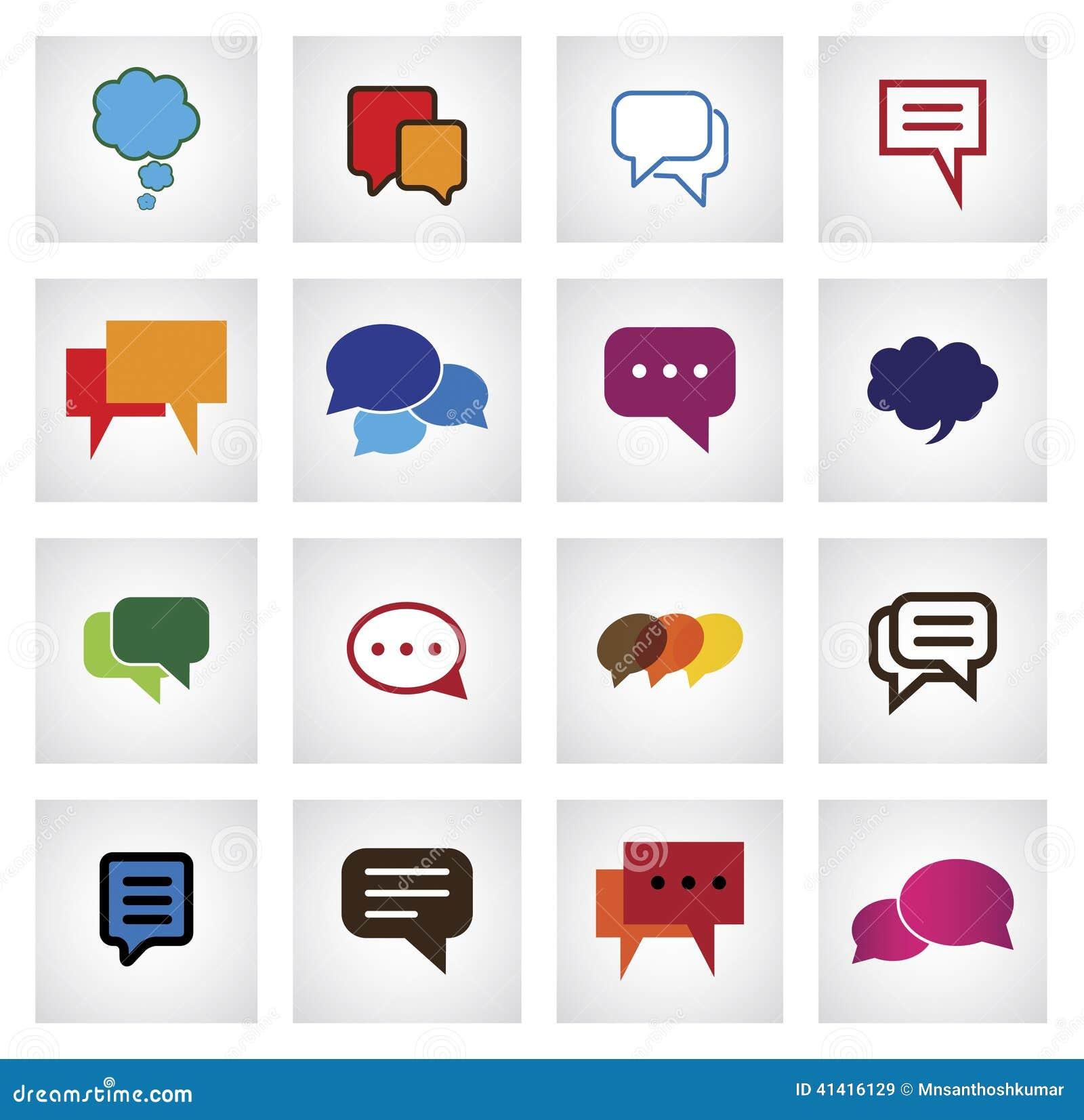 Plan symbol för pratstund i olika färger, former, format - vektorsymboler