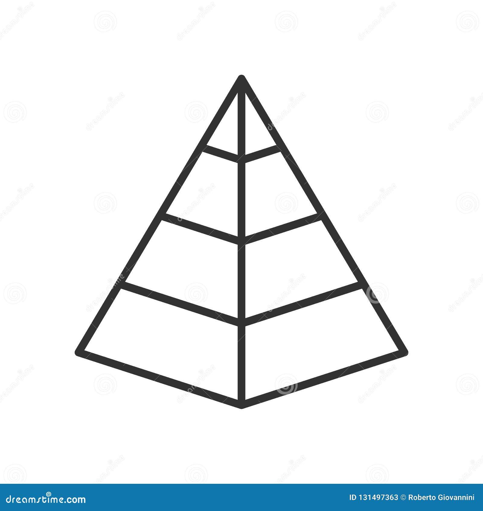Plan symbol för pyramiddiagramöversikt på vit