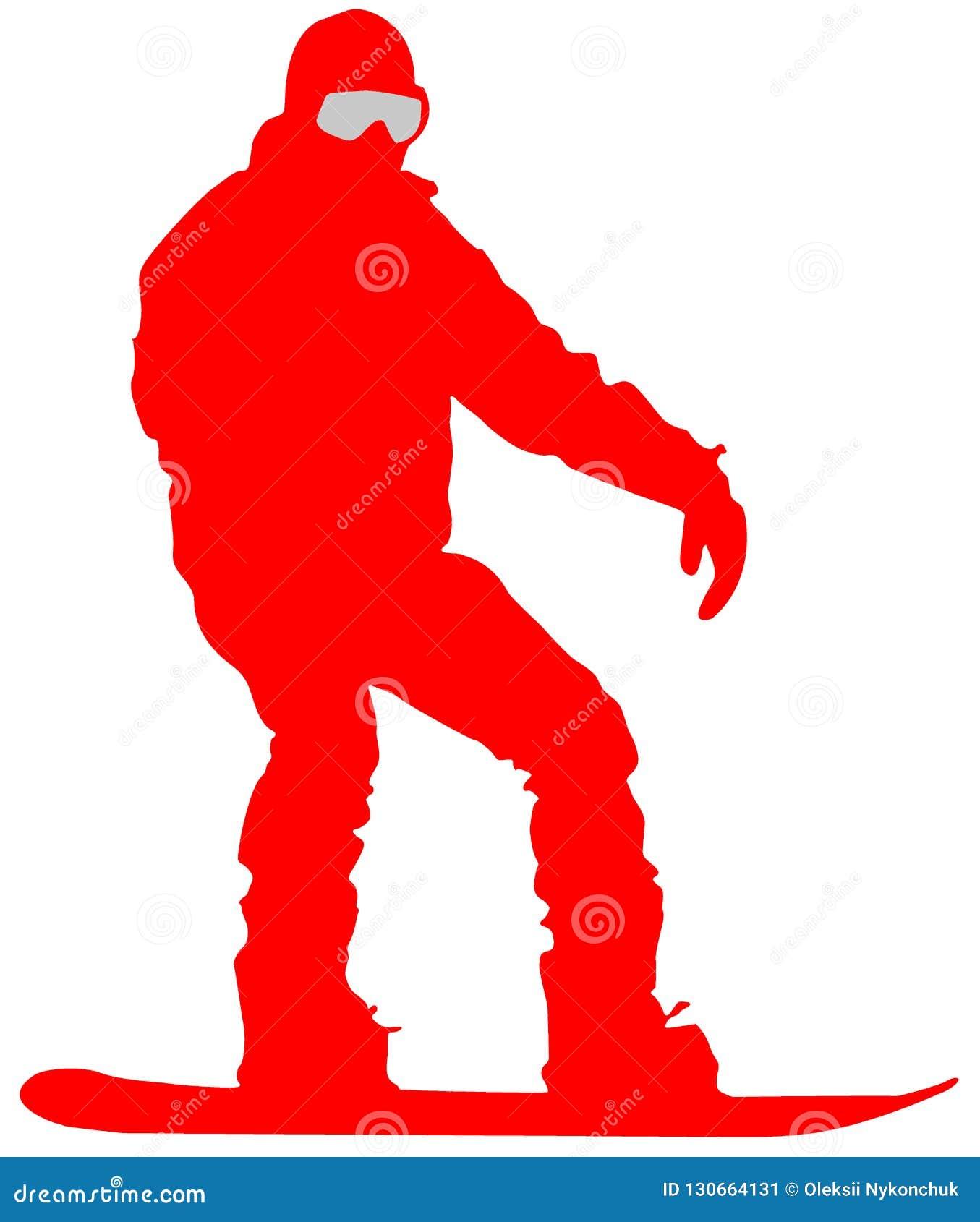 Plan symbol för röd Snowboarder på vit bakgrund