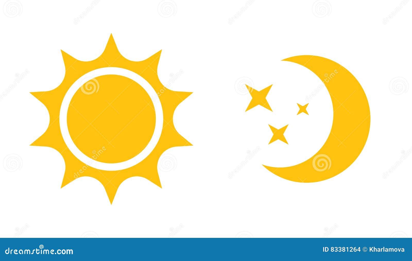 Plan symbol för sol och för måne Vektorlogo för rengöringsdukdesign, mobil och infographics