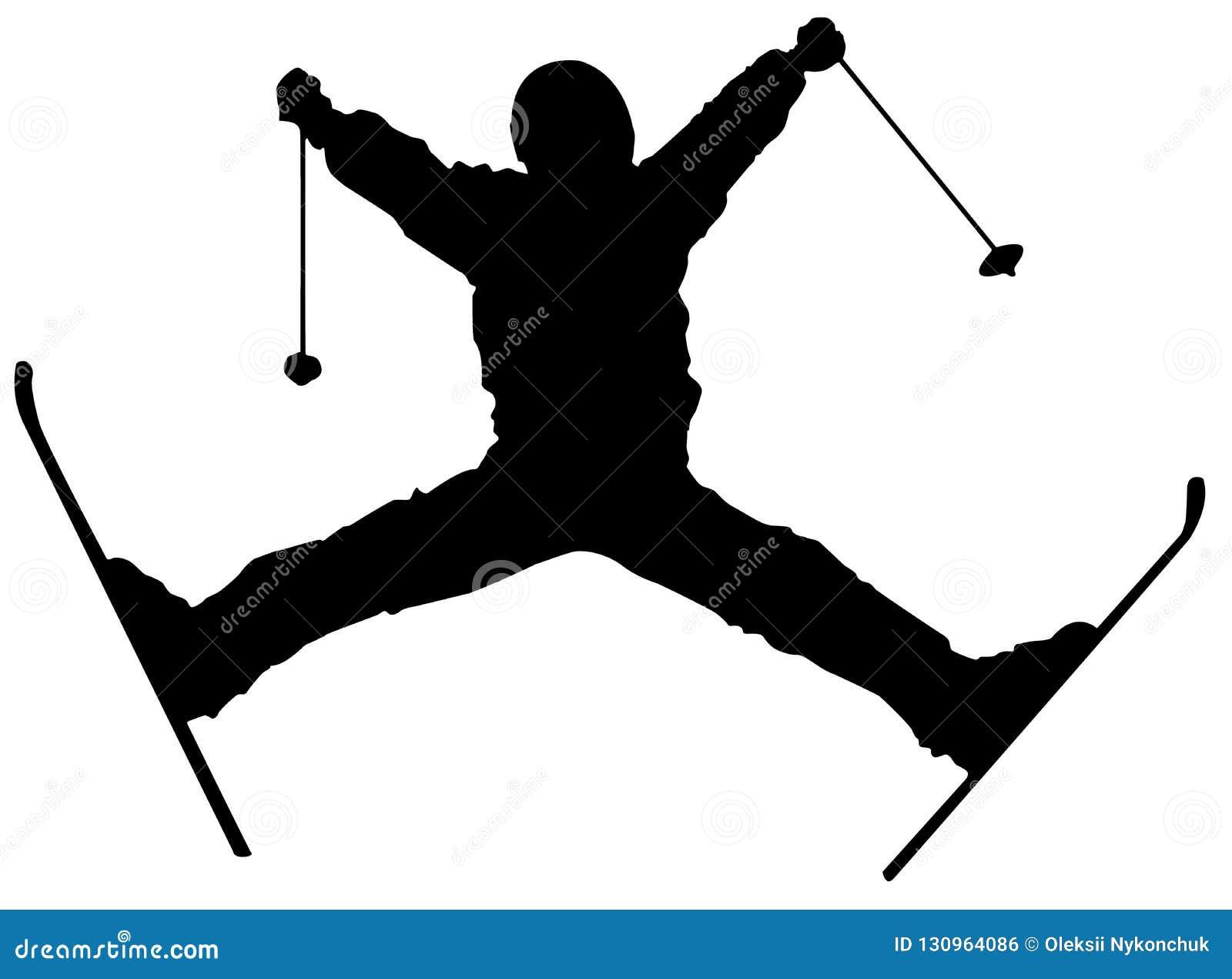 Plan symbol för svart skidåkare på vit bakgrund