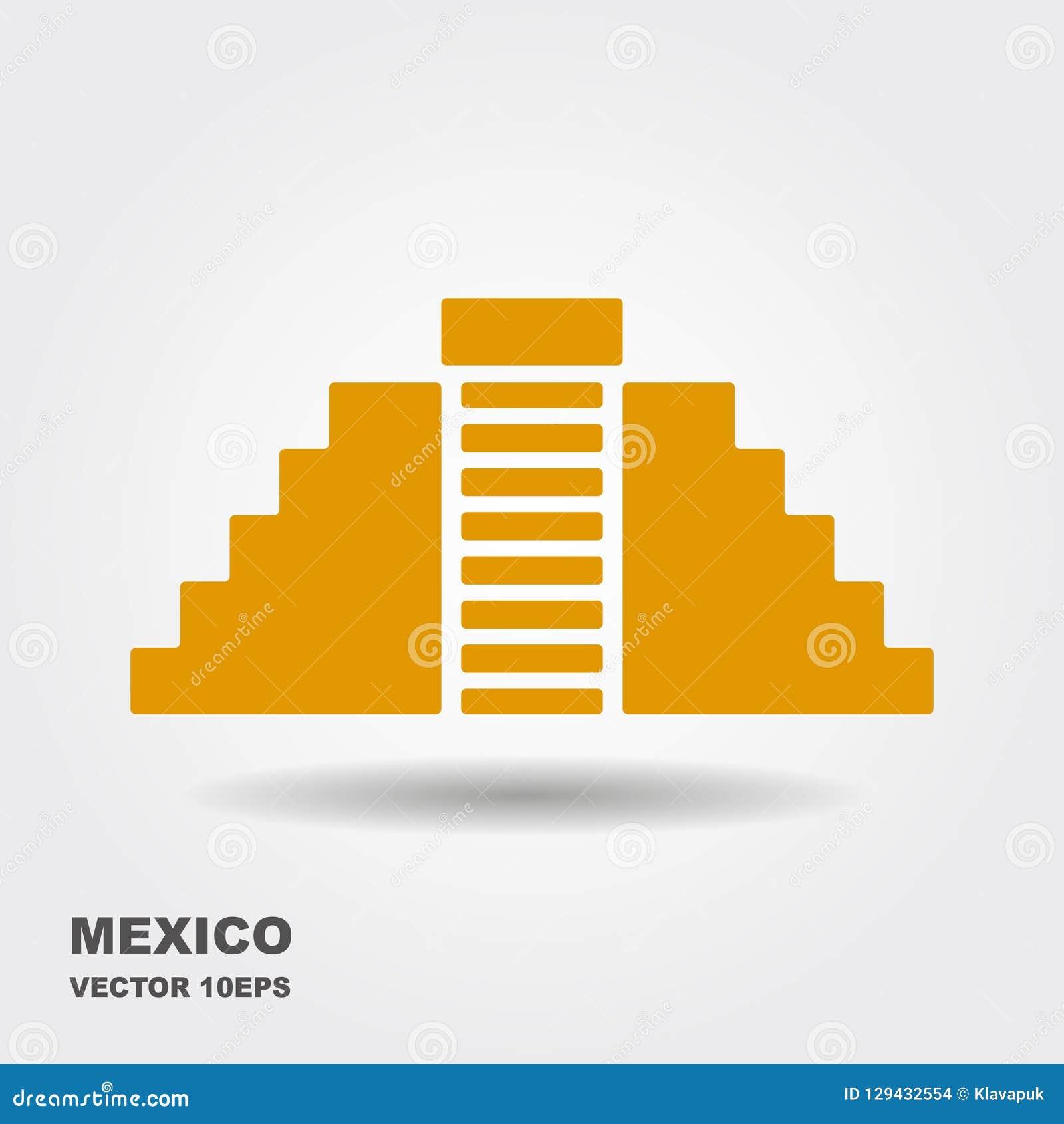 Plan symbol för vektor av Chichen Itza, Mexico bakgrund isolerad white