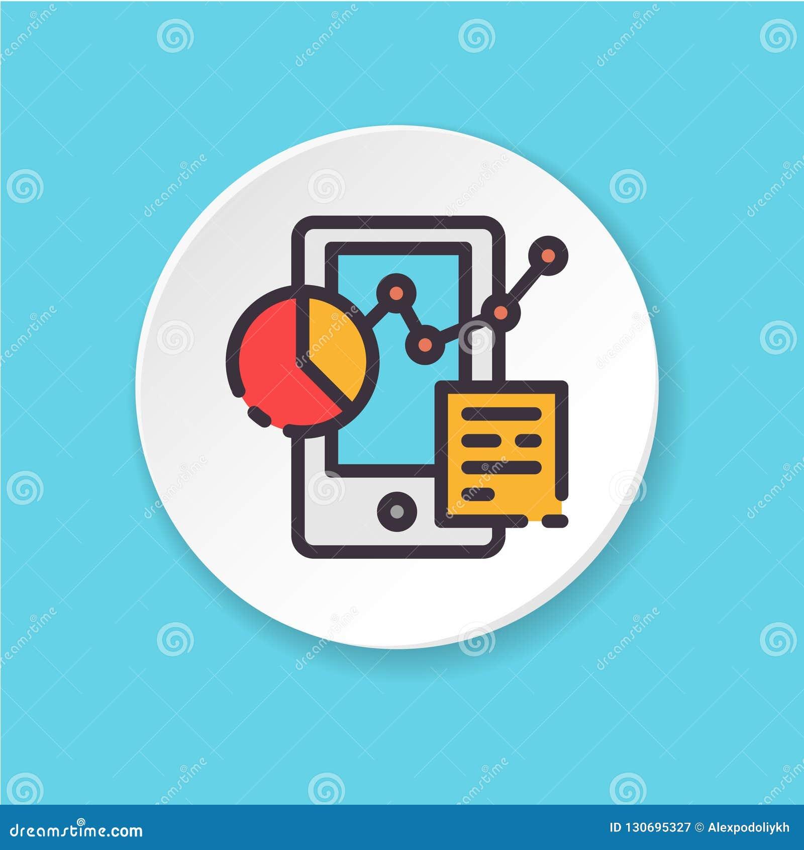 Plan symbolsdiagram och graf för vektor i telefon Knapp för rengöringsduken eller mobilen app