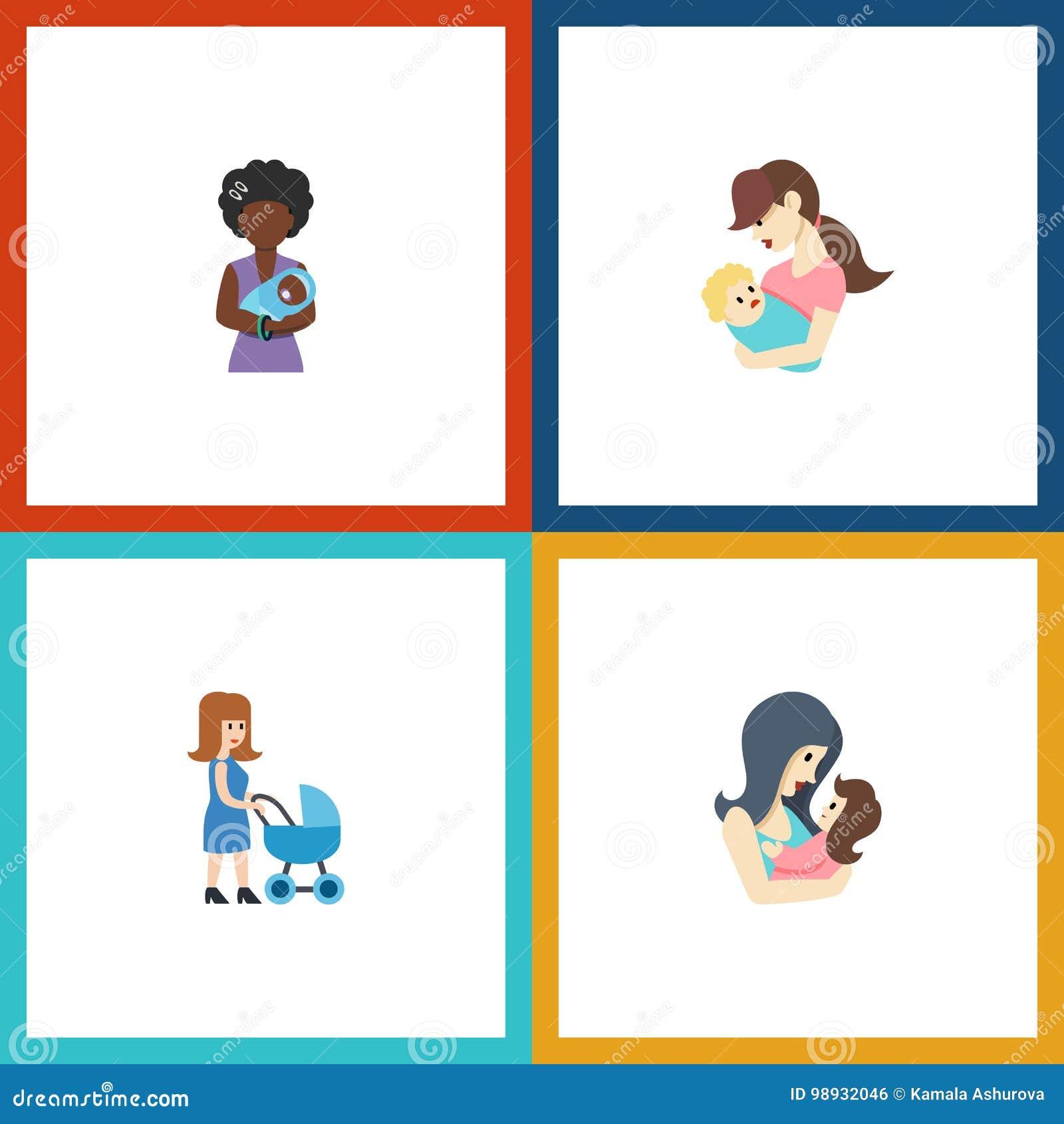 Plan symbolsförälderuppsättning av Perambulator, Mam, barn och andra vektorobjekt Inkluderar också föräldern, modern, Perambulato