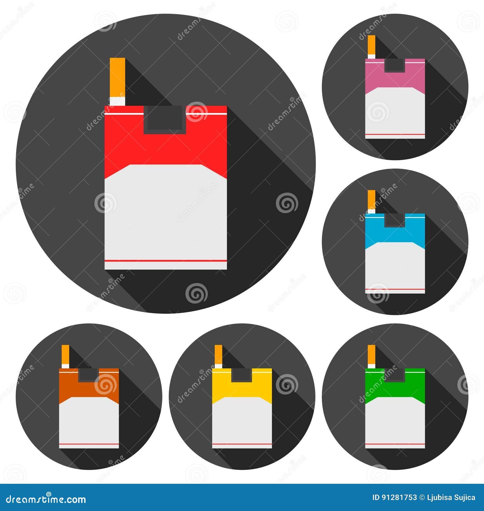 Plan symbolsuppsättning för cigarett