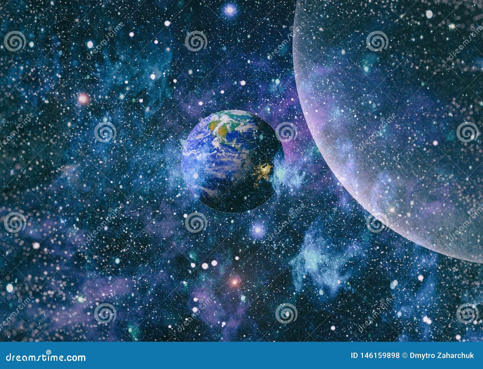 Plan?tes, ?toiles et galaxies dans l espace extra-atmosph?rique montrant la beaut? de l exploration d espace ?l?ments meubl?s par
