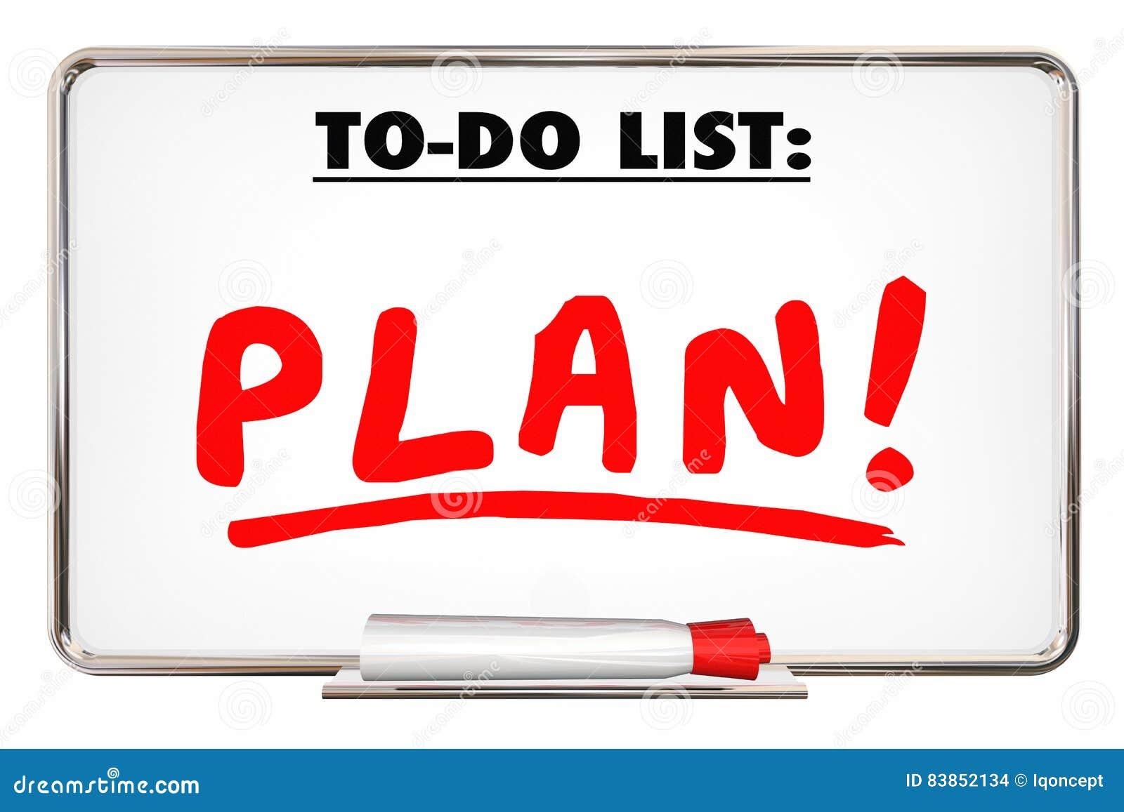 plan to do list writing word priority organize tasks stock