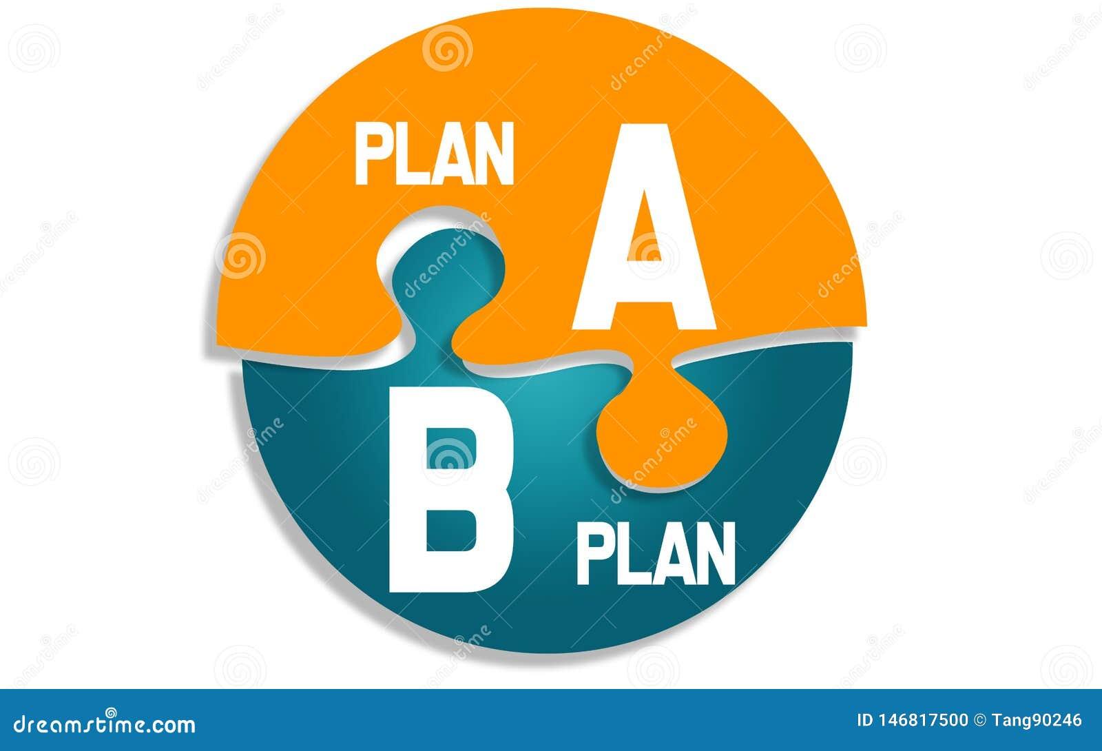 Plan A und Plan B auf rundem Puzzlespiel