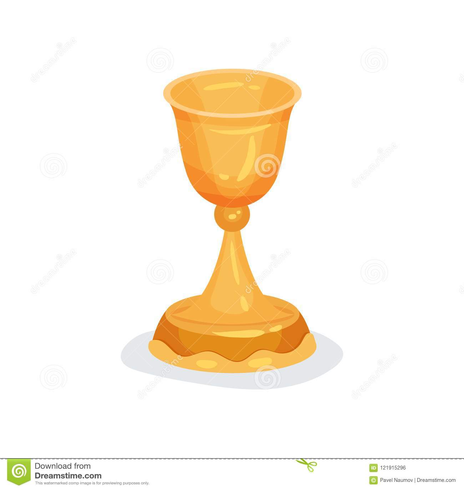 Plan vektorsymbol av den guld- bägaren som används i kristna ceremonier Liturgisk skyttel för sakramentalt vin eller helgedom