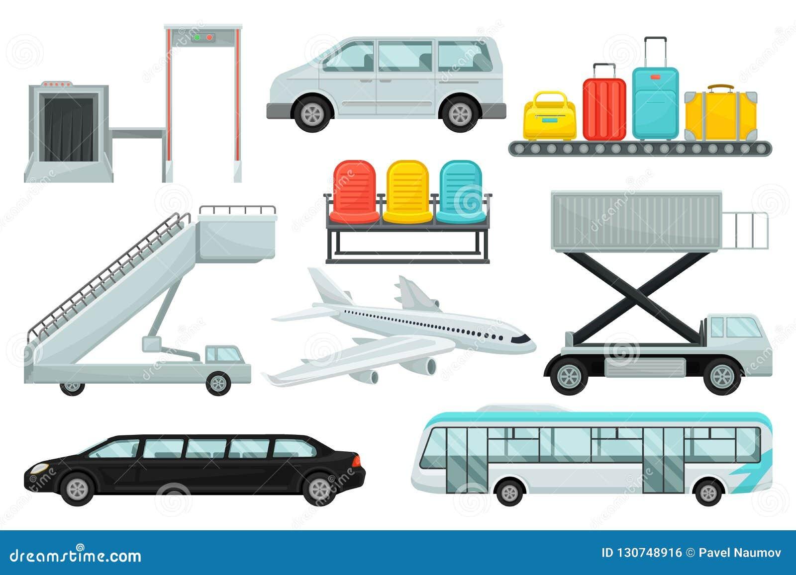 Plan vektoruppsättning av flygplatsbeståndsdelar Transport som stiger ombord trappa, karusell med resväskor, stolar, flygplanet o