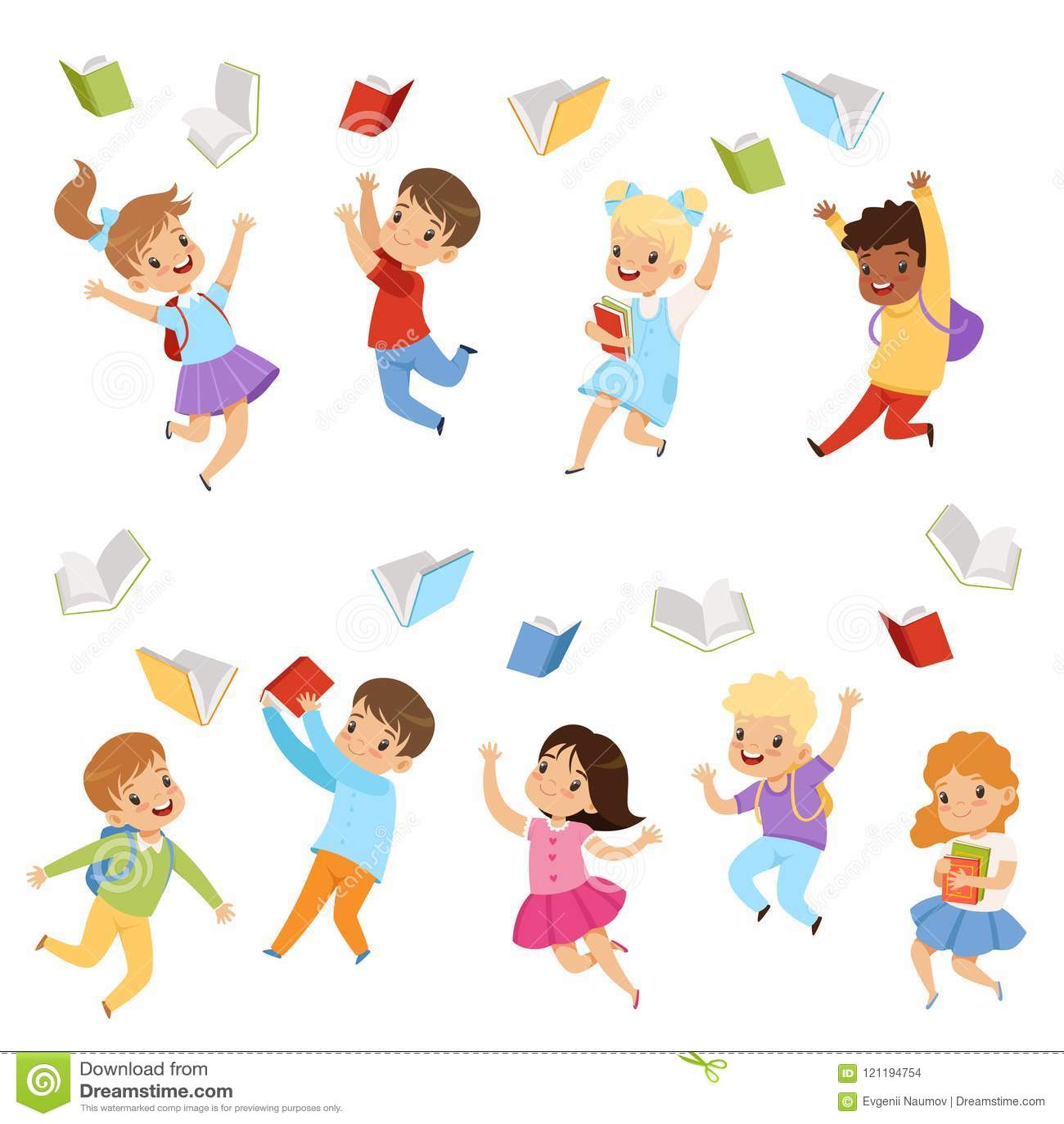 Plan vektoruppsättning av gulliga ungar som kastar böcker upp i luften Barn med lyckliga framsidor Elever av grundskolan