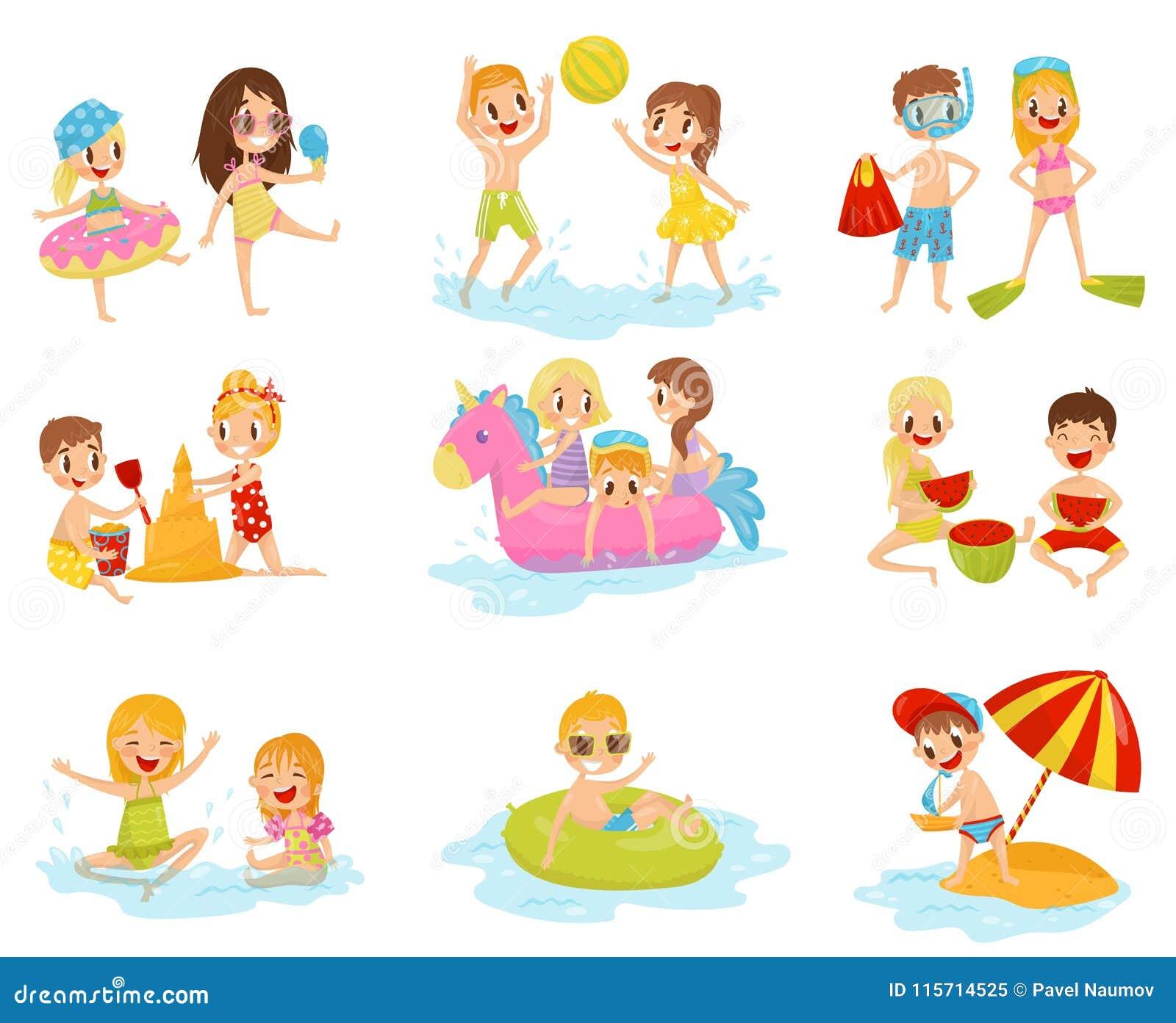 Plan vektoruppsättning av små barn i olika handlingar Spela med den uppblåsbara bollen, byggande slott från sand