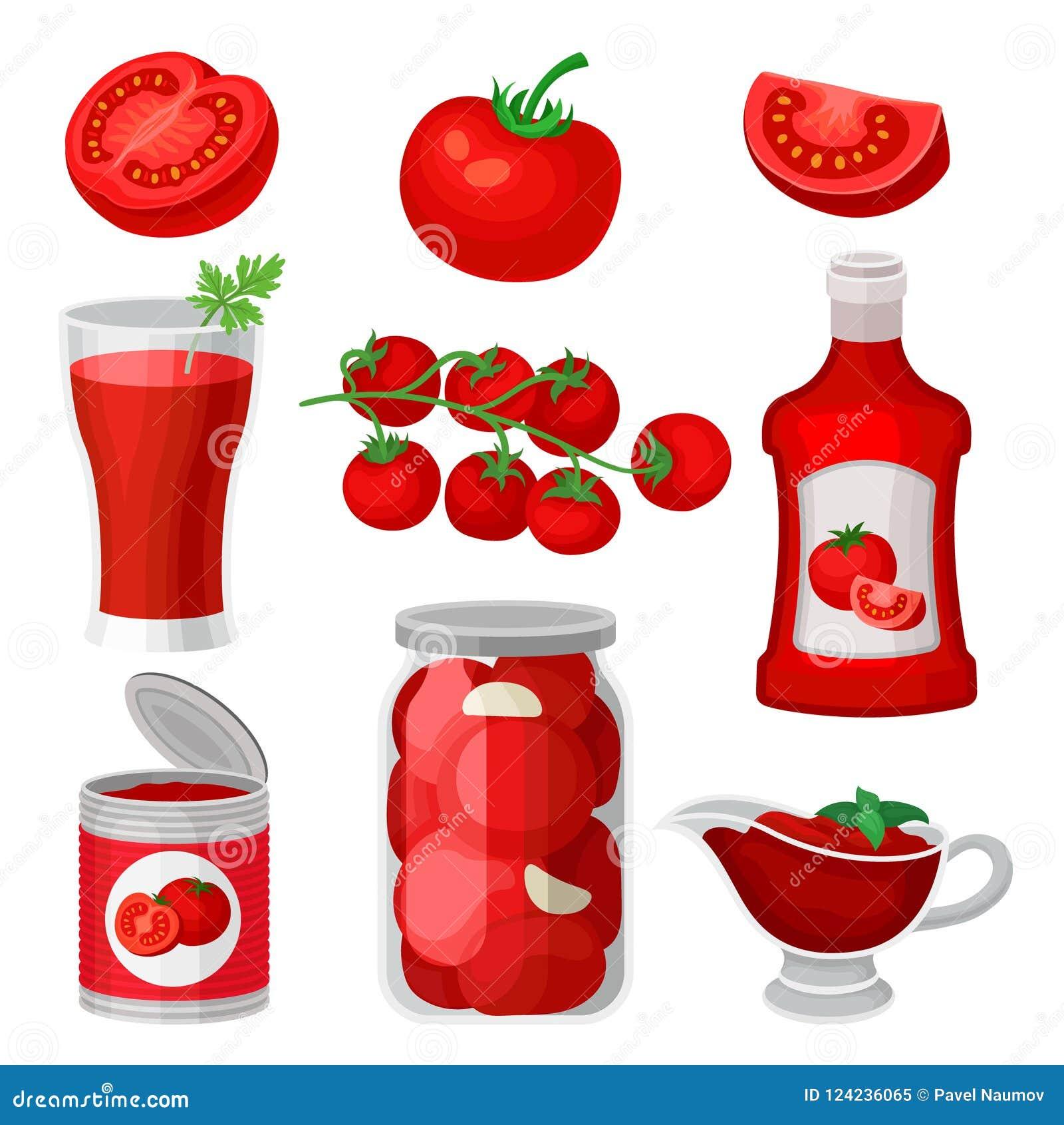 Plan vektoruppsättning av tomatmat och drinkar Sund fruktsaft, ketchup och sås, på burk produkter Naturliga och smakliga produkte