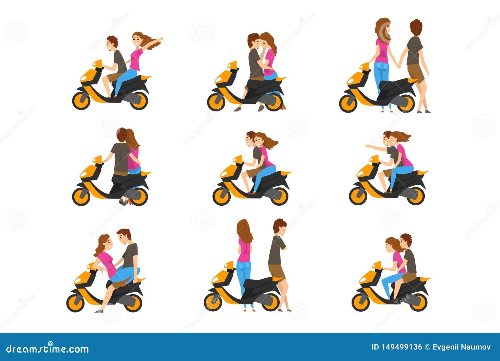 Plan vektorupps?ttning med att ?lska par och sparkcykeln Ung flicka och grabb med olika sinnesr?relser Tecknad filmfolktecken