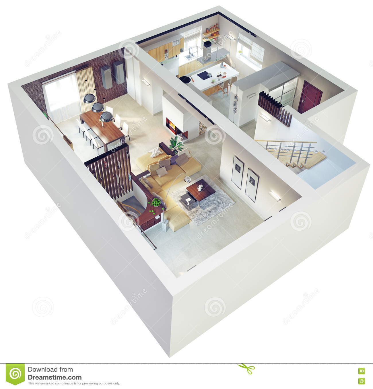 Plan view of an apartment stock illustration image 40889215 for Construction maison 80m2
