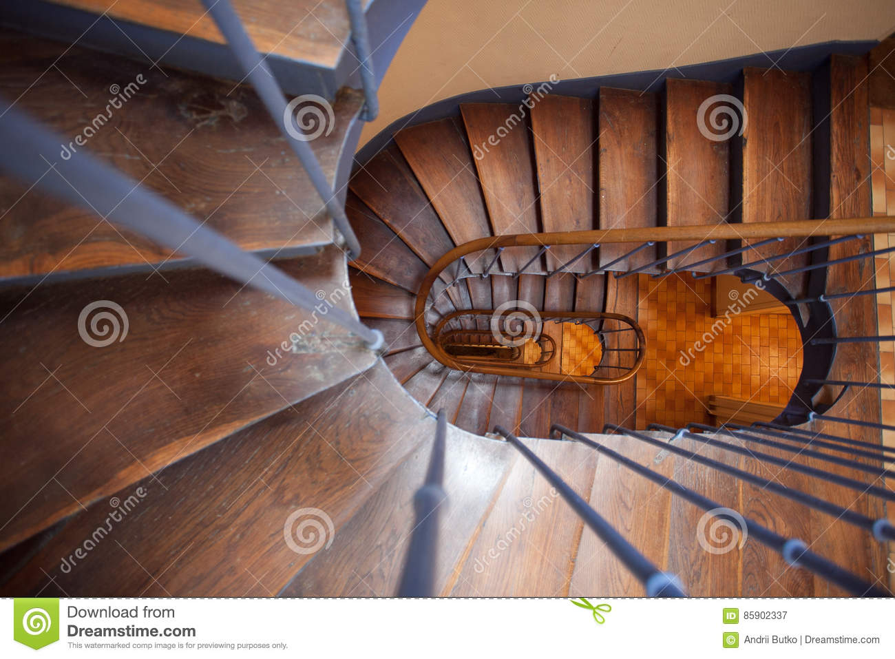 A Plan View Of A Spiral Wooden Staircase Stock Image Image Of