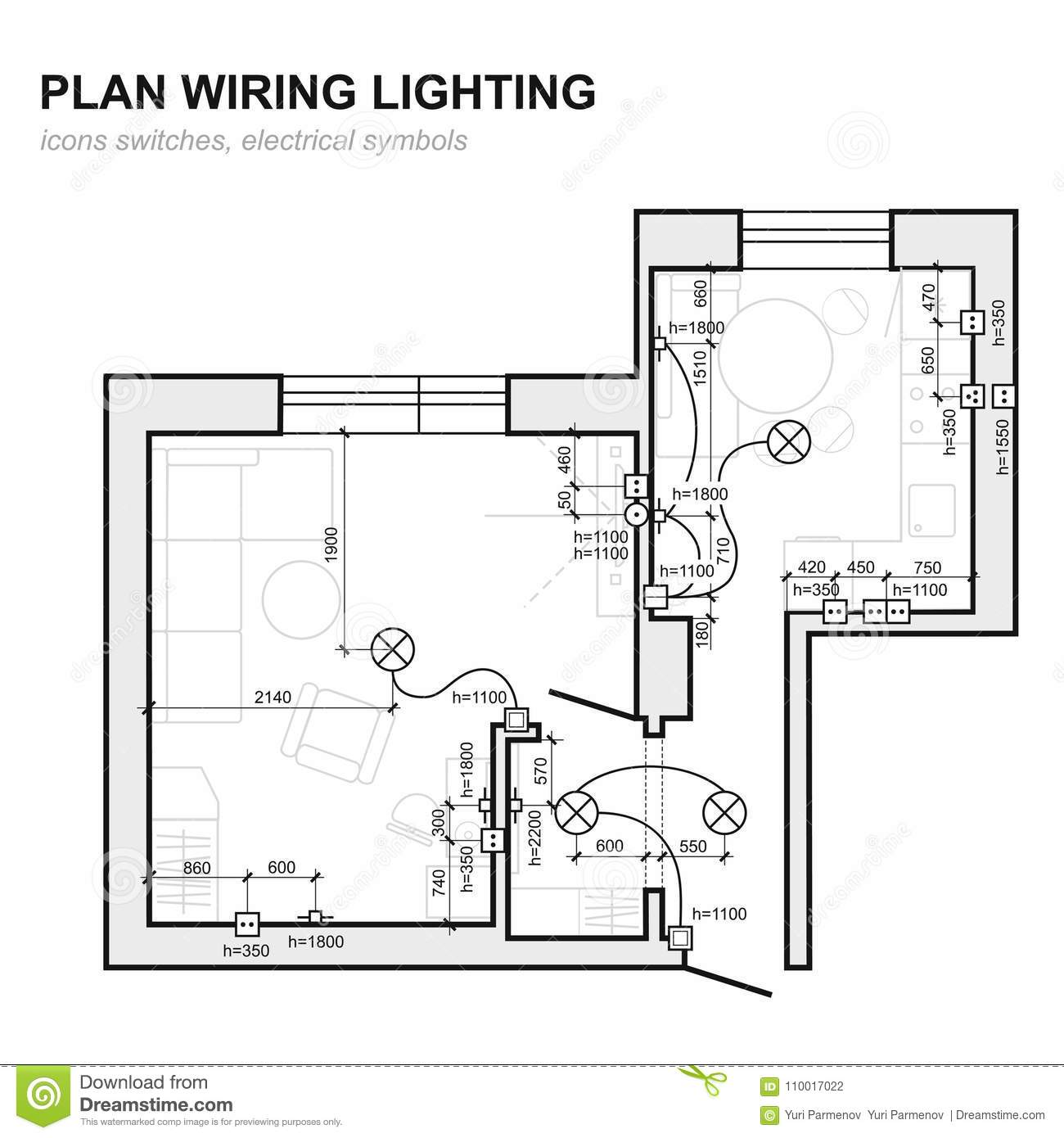 royalty-free vector  plan wiring lighting  electrical schematic interior