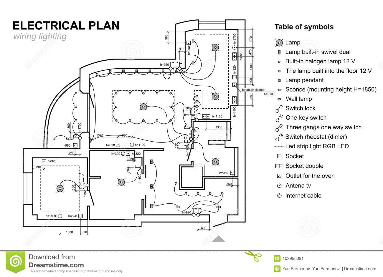 Plan wiring lighting. Electrical Schematic interior. Set of standard icons  switches, electrical symbols