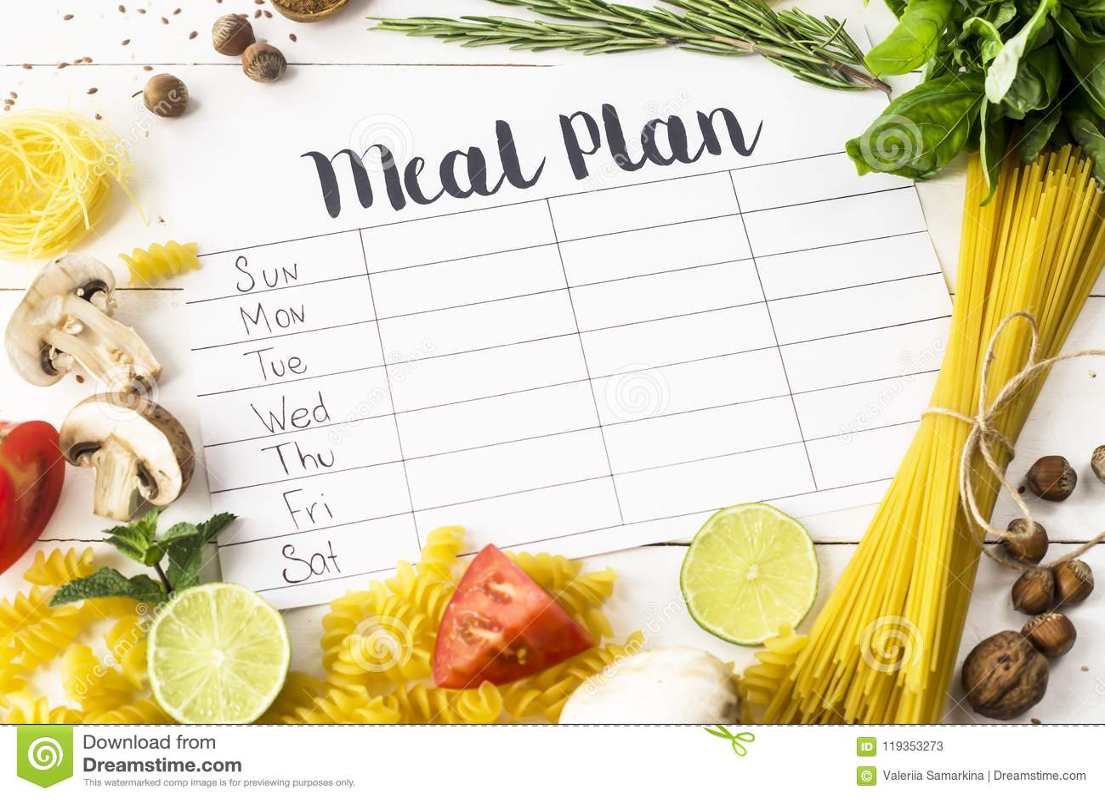 Plan y productos de la comida