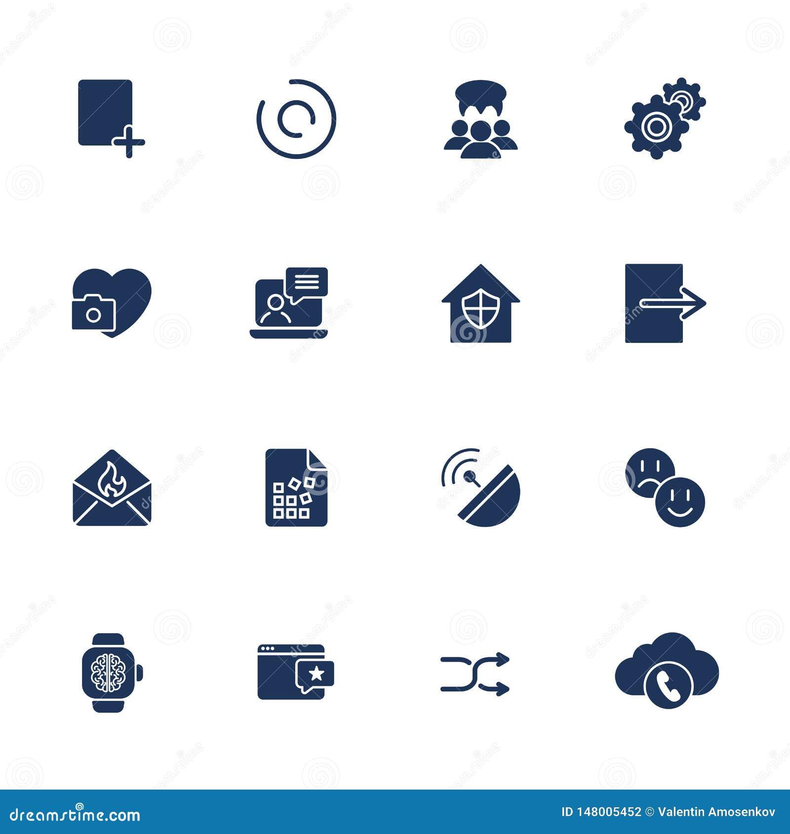 Plana designsymboler ställde in modernt begrepp för stilvektorillustration av rengöringsdukutvecklingsservice, social massmediama