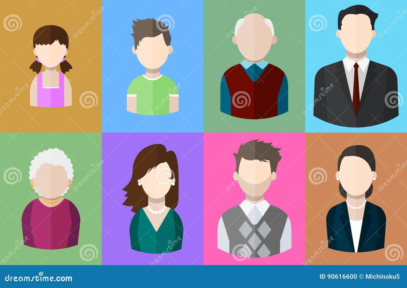 Plana folksymboler fostrar, fadern och deras son och dotter, morfadern och mormodern, affärsmannen och affärskvinnan