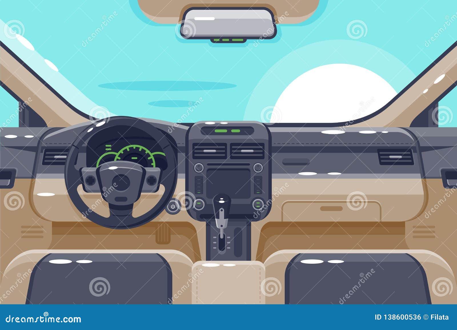 Plana insidor av bilinre med överföringen, styrninghjulet, handskeasken, elektronik och instrumentbrädan